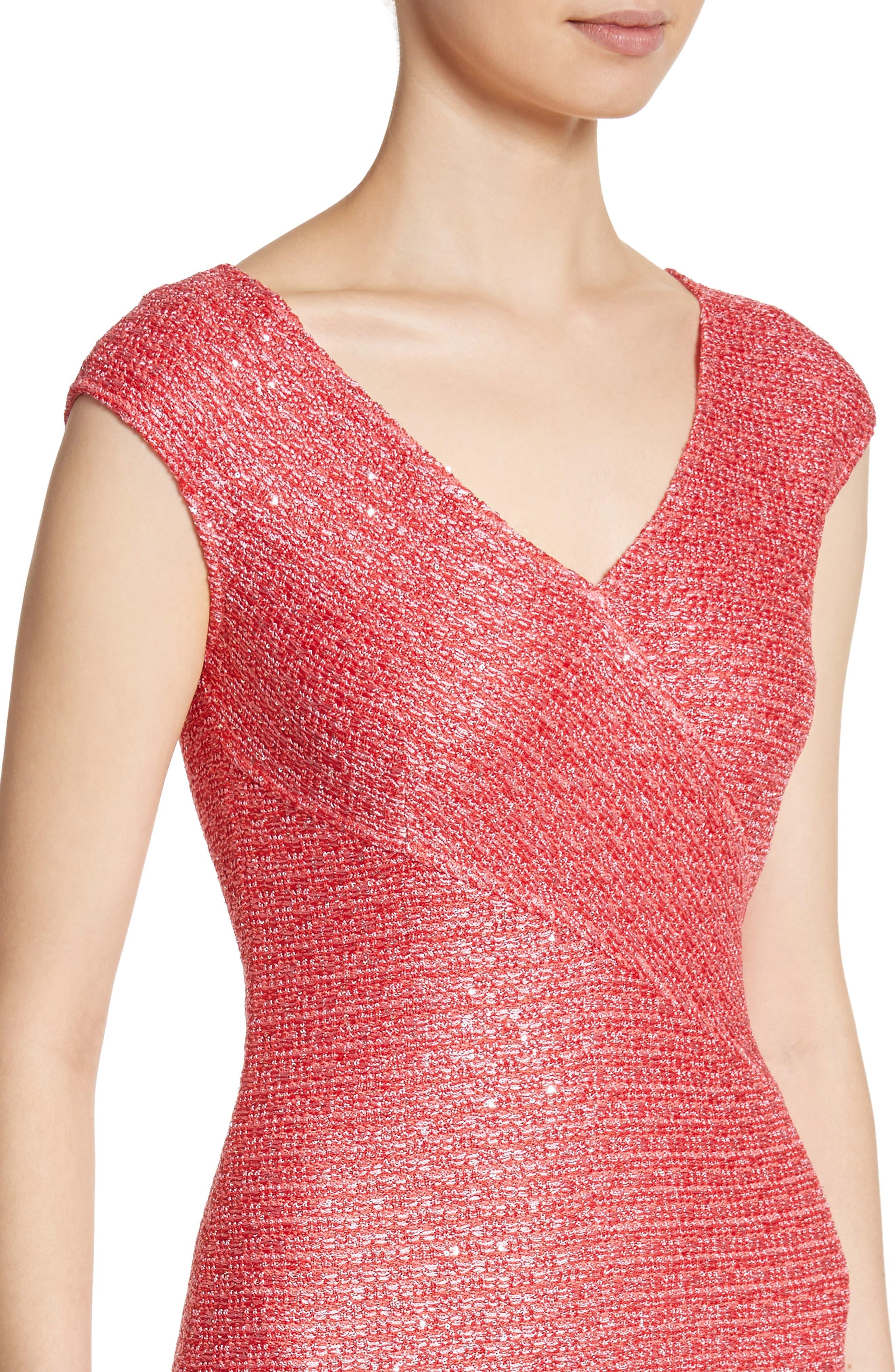 Hansh Knit Dress,                             Alternate thumbnail 4, color,                             Coral Multi