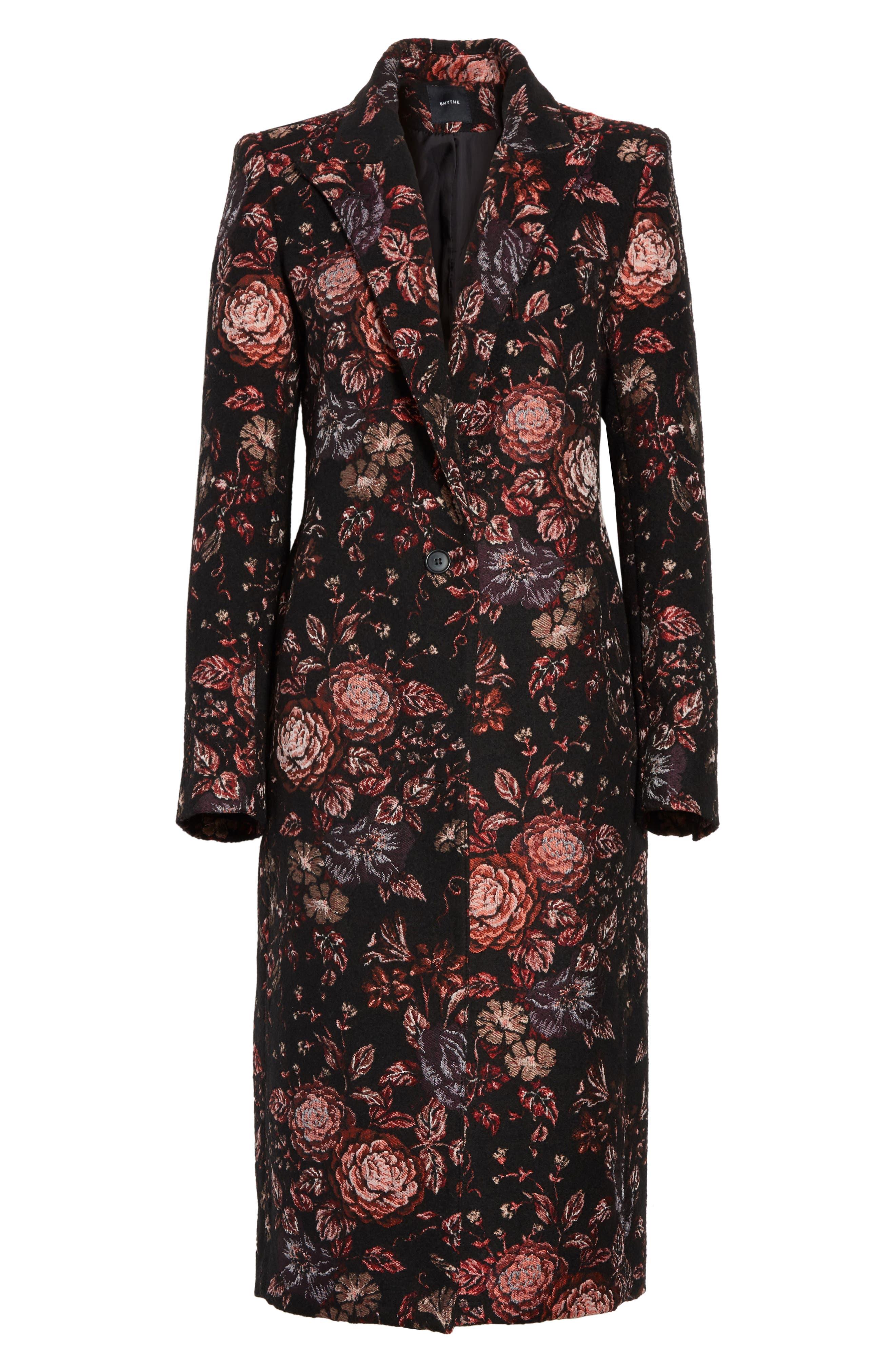 Floral Jacquard Peaked Lapel Coat,                             Alternate thumbnail 6, color,                             Tapestry