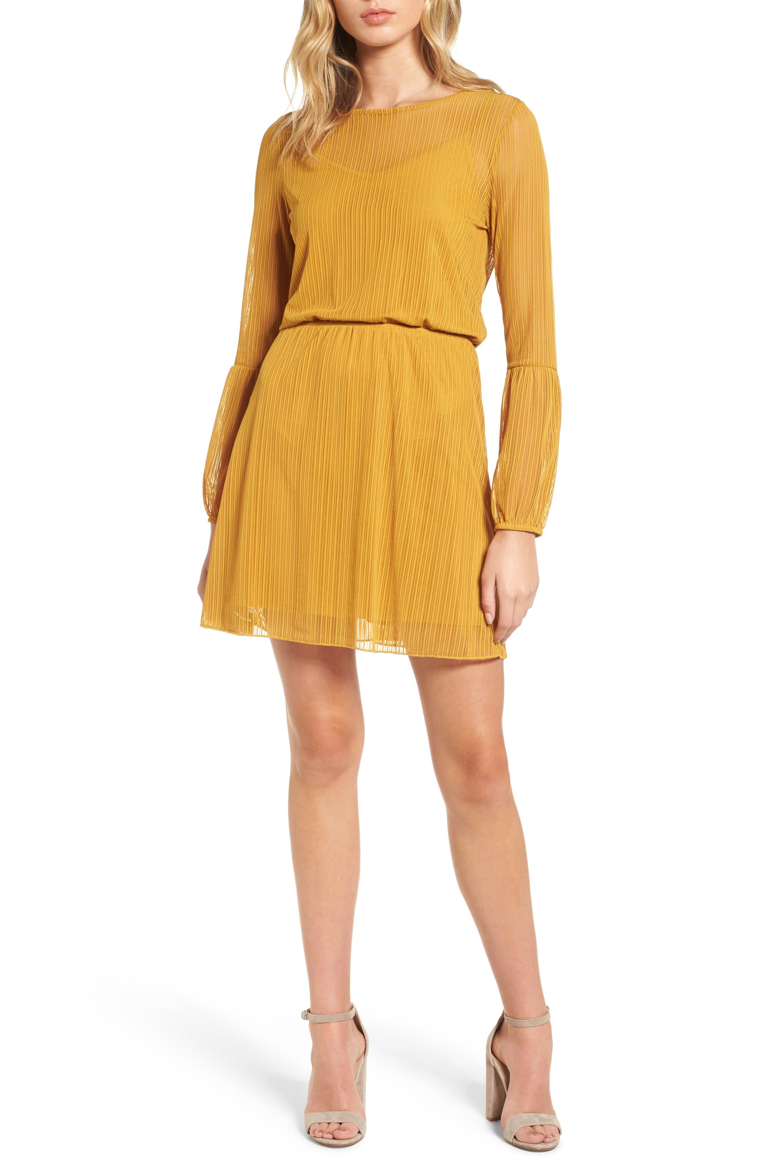 Blouson Dress,                         Main,                         color, Tan Mustard