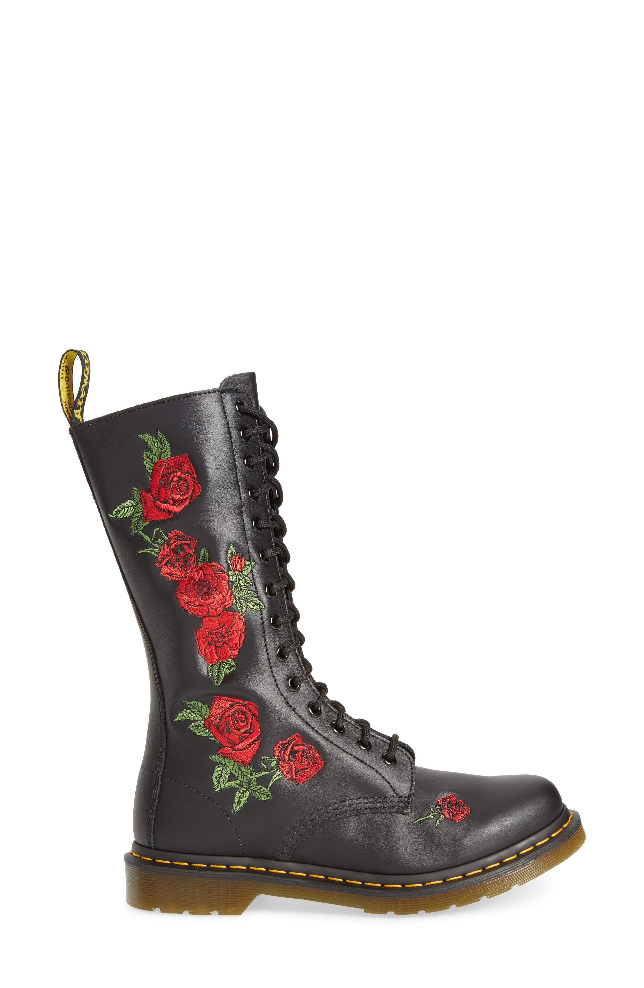 Vonda Lace-Up Boot,                             Alternate thumbnail 3, color,                             Black Softy Embroidery