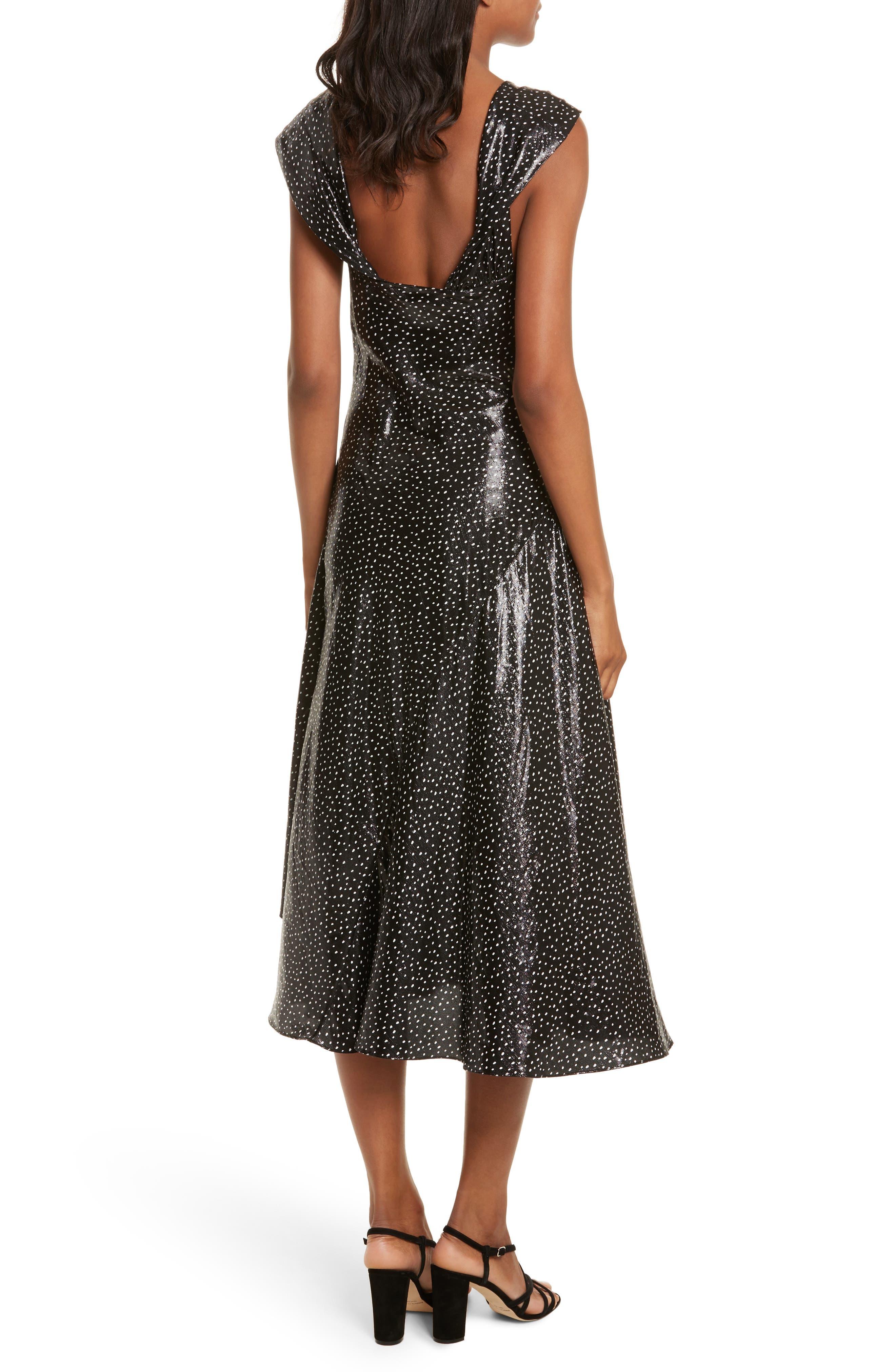 Metallic Dot Midi Dress,                             Alternate thumbnail 2, color,                             Irvine Dot Black