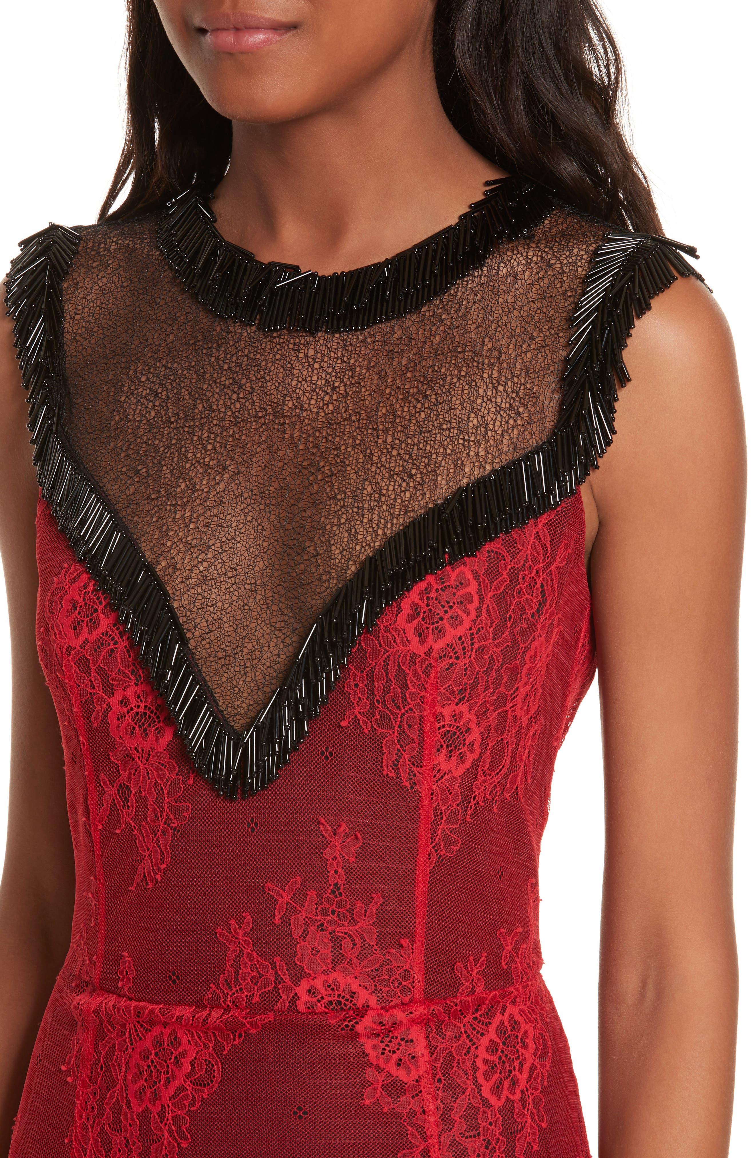 Alternate Image 4  - Diane von Furstenberg Beaded Lace Overlay Dress