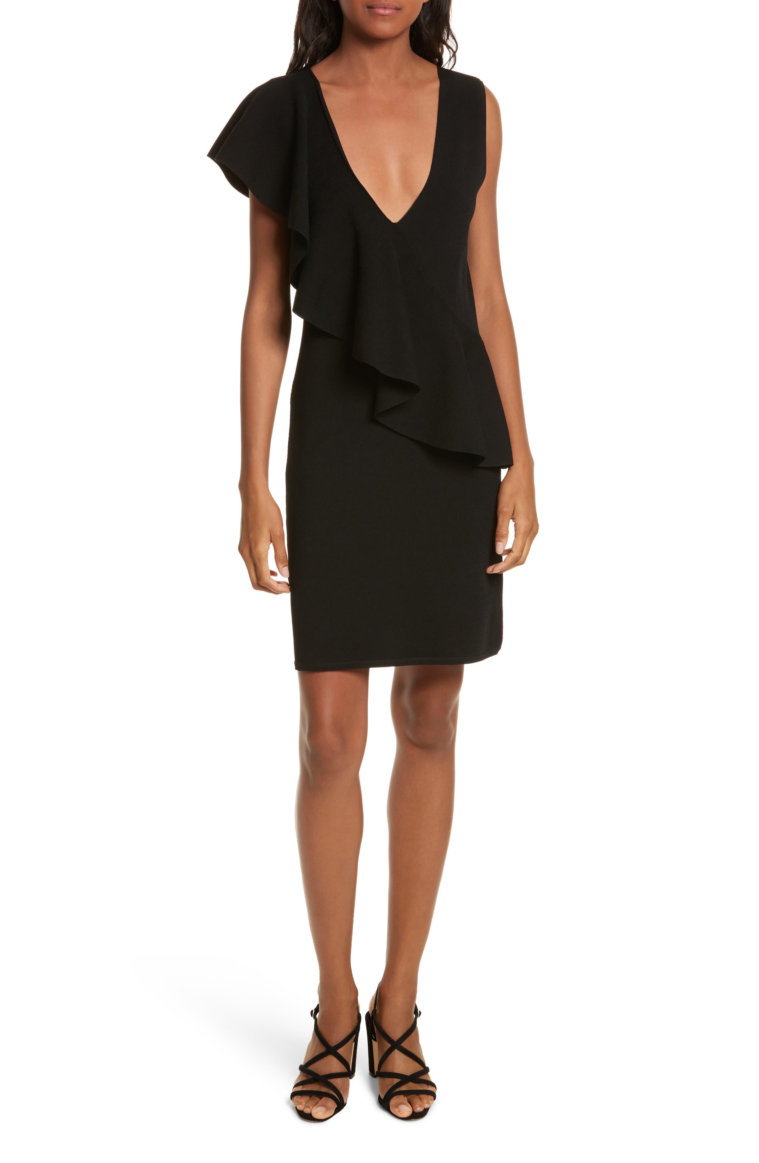 Asymmetrical Ruffle Dress,                             Main thumbnail 1, color,                             Black