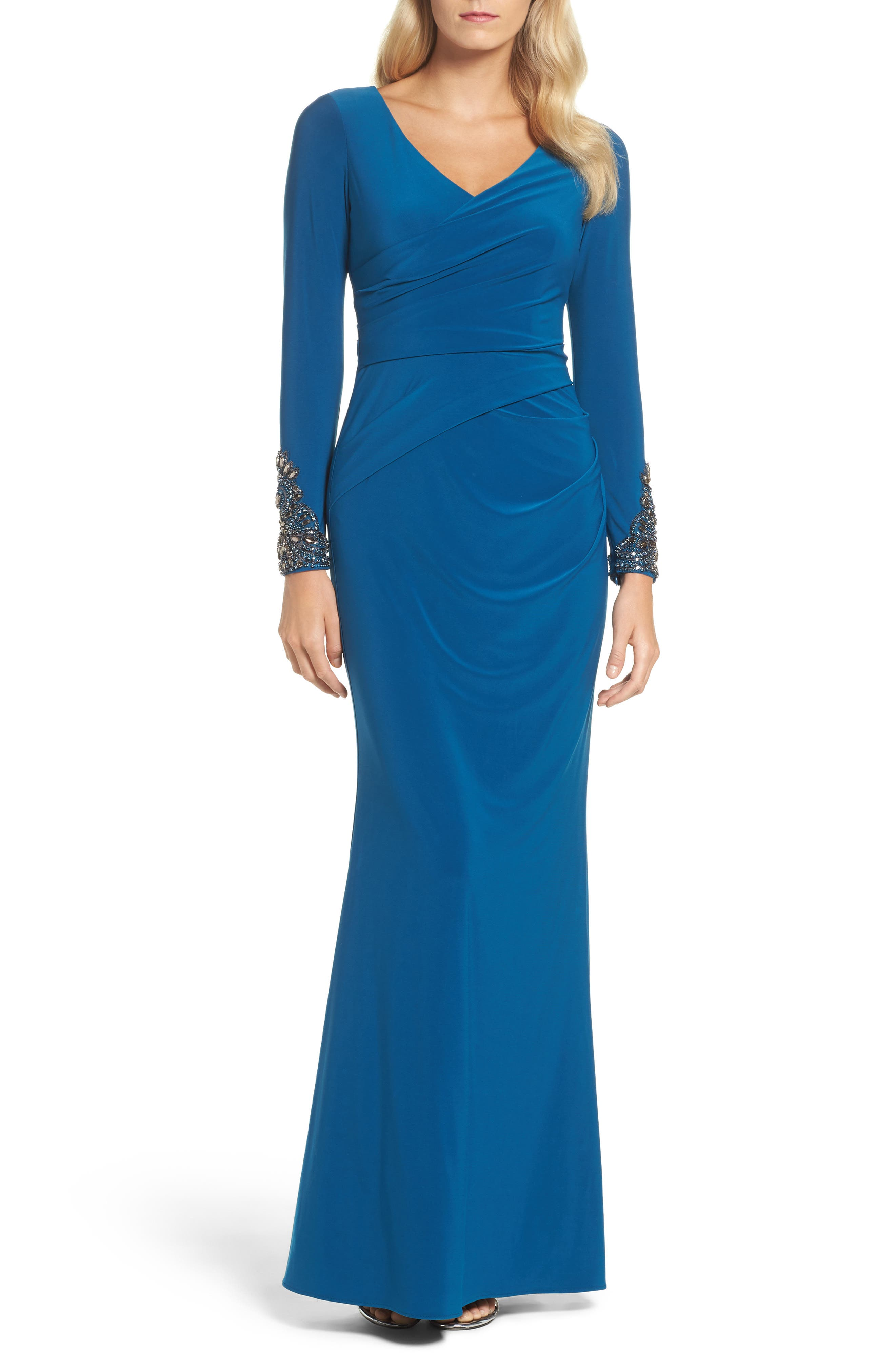 Embellished Sleeve Drape Gown,                             Main thumbnail 1, color,                             Evening Sky
