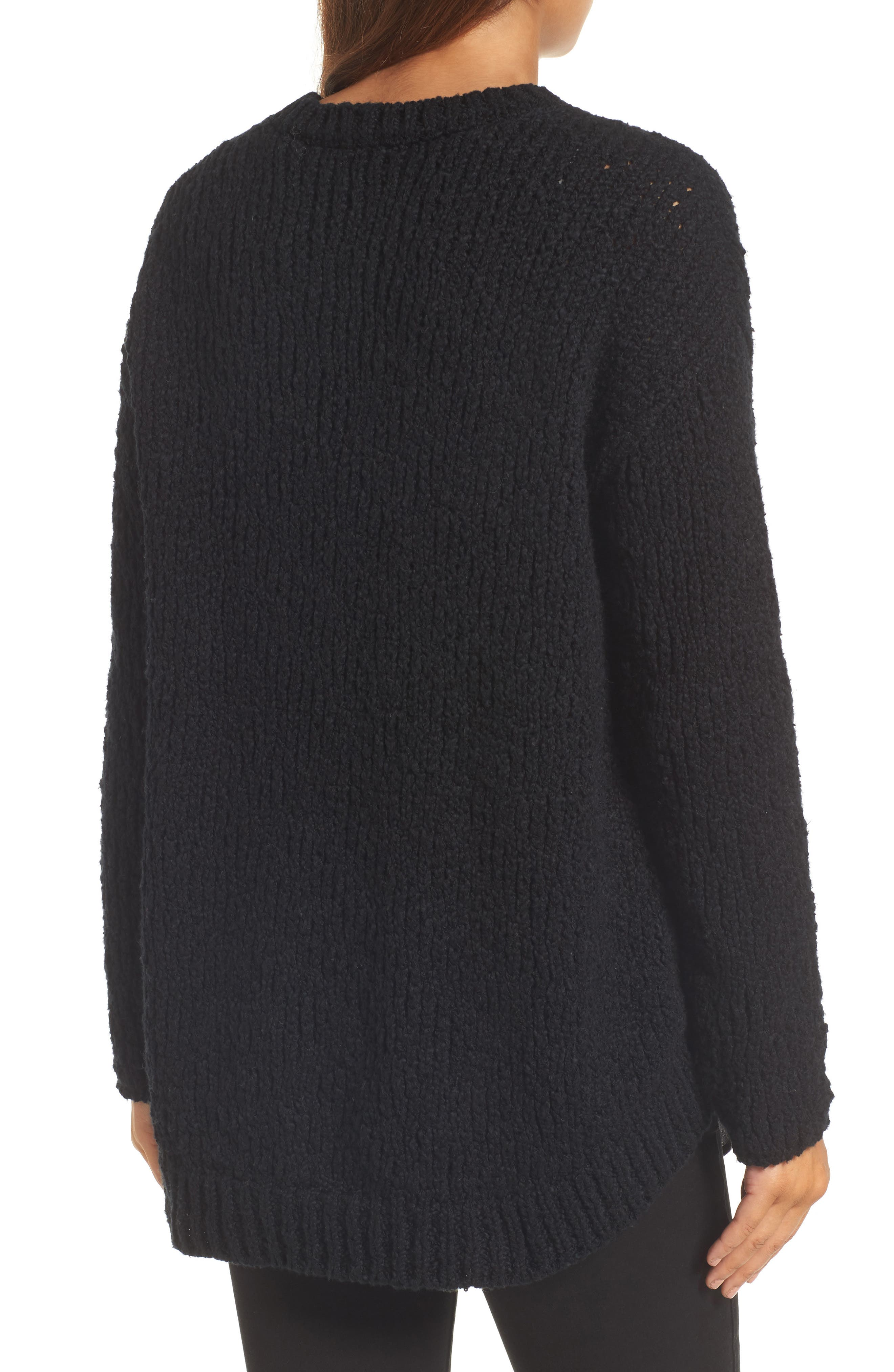 High/Low Organic Cotton Sweater,                             Alternate thumbnail 2, color,                             Black