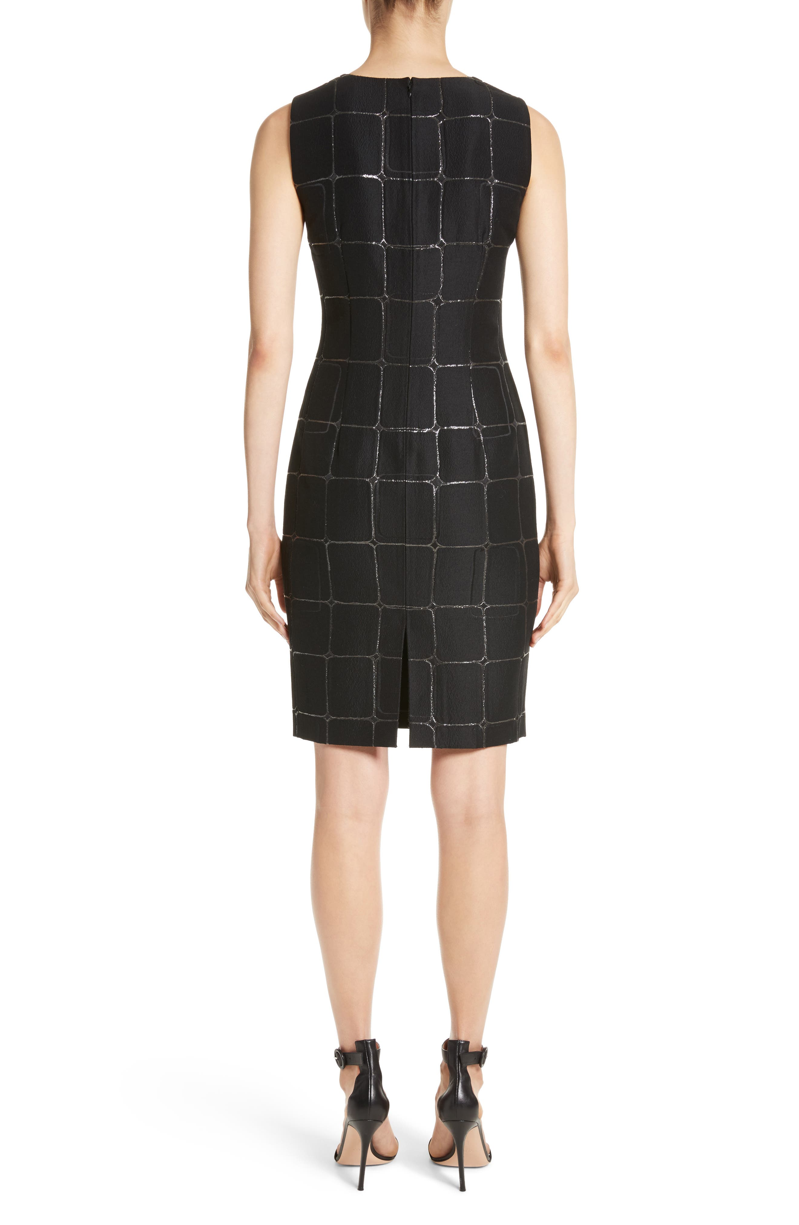 Metallic Jacquard Sheath Dress,                             Alternate thumbnail 2, color,                             Caviar Metallic