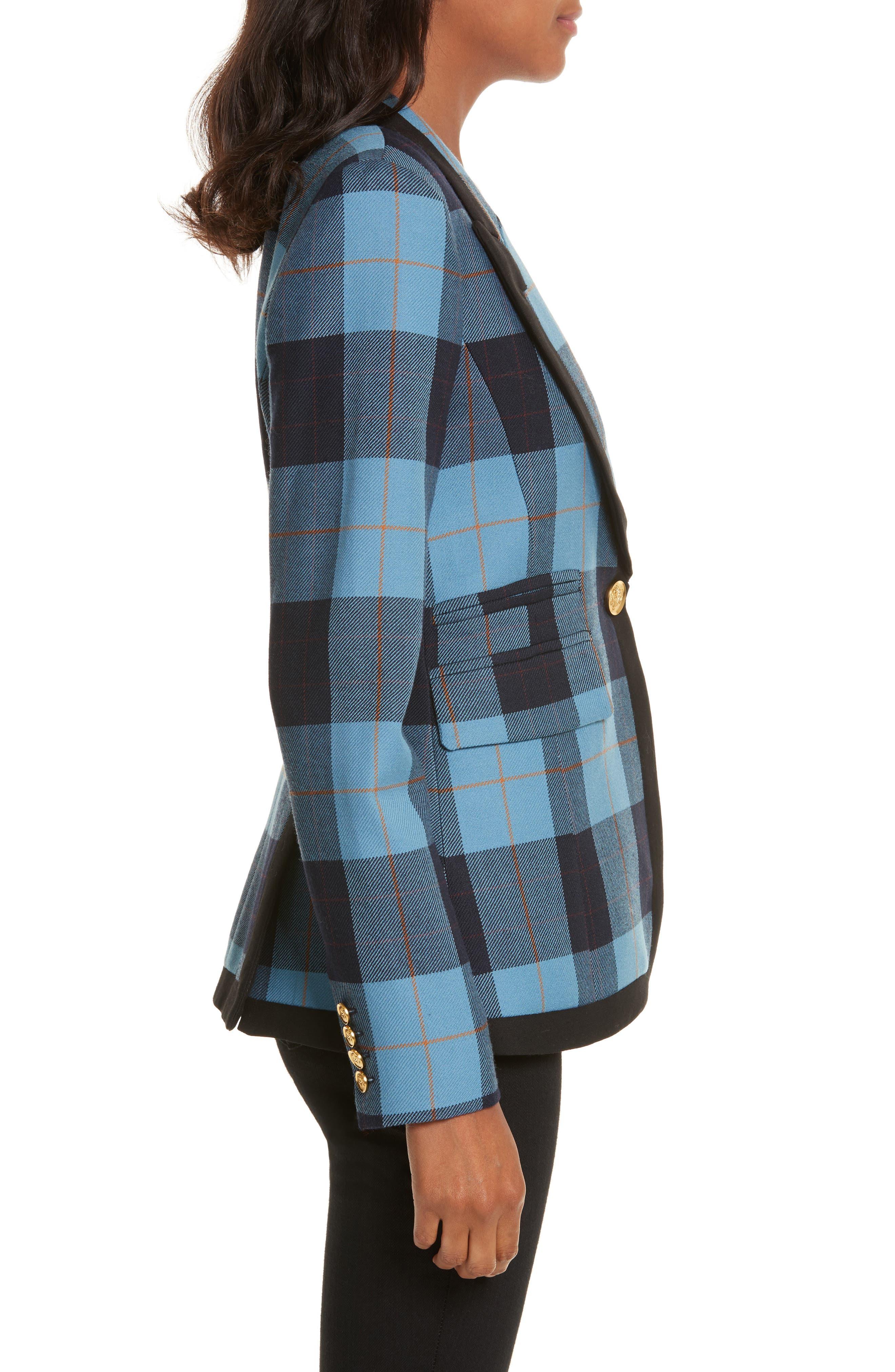 Taped Peak Lapel Plaid Blazer,                             Alternate thumbnail 3, color,                             Blue Plaid W/ Black