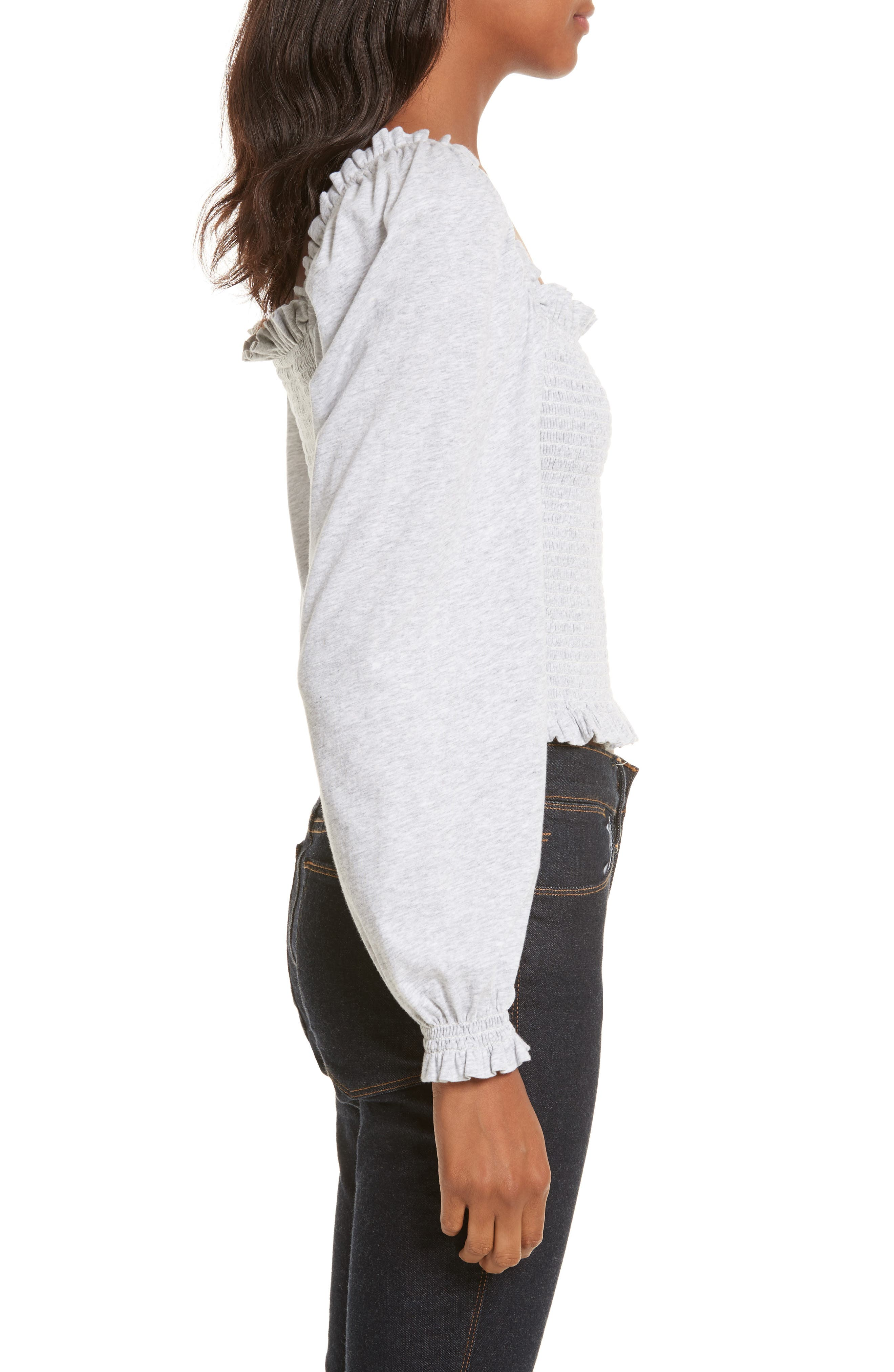 Smocked Crop Jersey Top,                             Alternate thumbnail 3, color,                             Heather Grey
