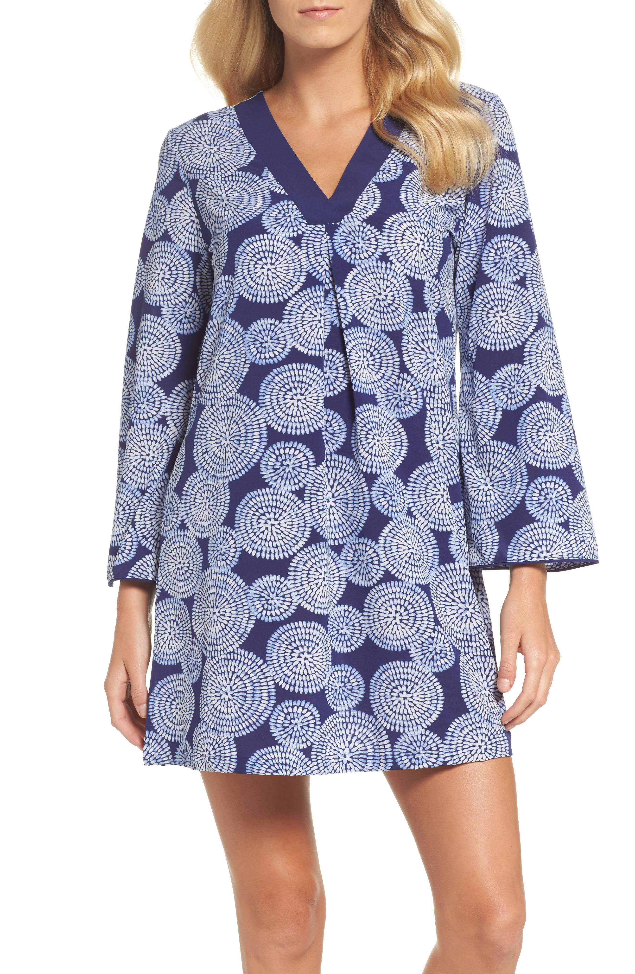 Sleepwear Halftan Short Nightgown,                             Main thumbnail 1, color,                             Eclipse Print