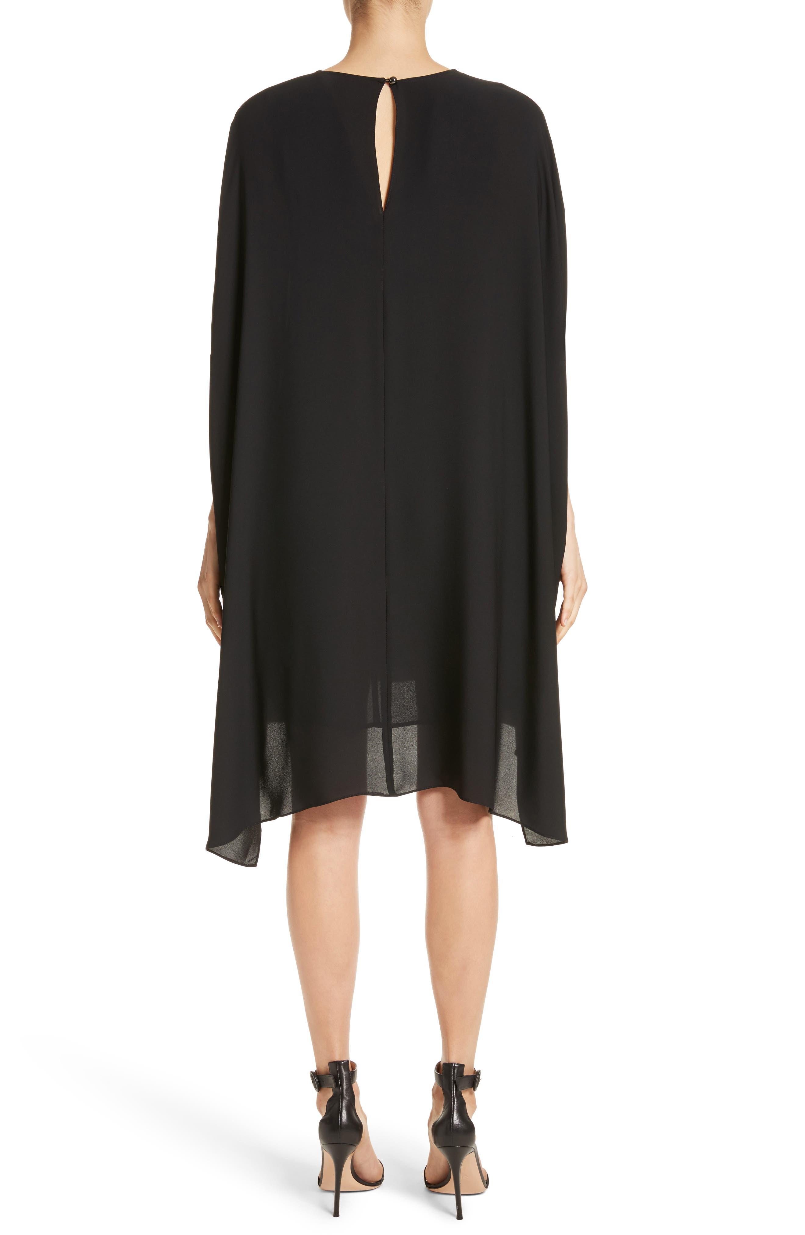 Double Silk Georgette Draped Dress,                             Alternate thumbnail 2, color,                             Caviar