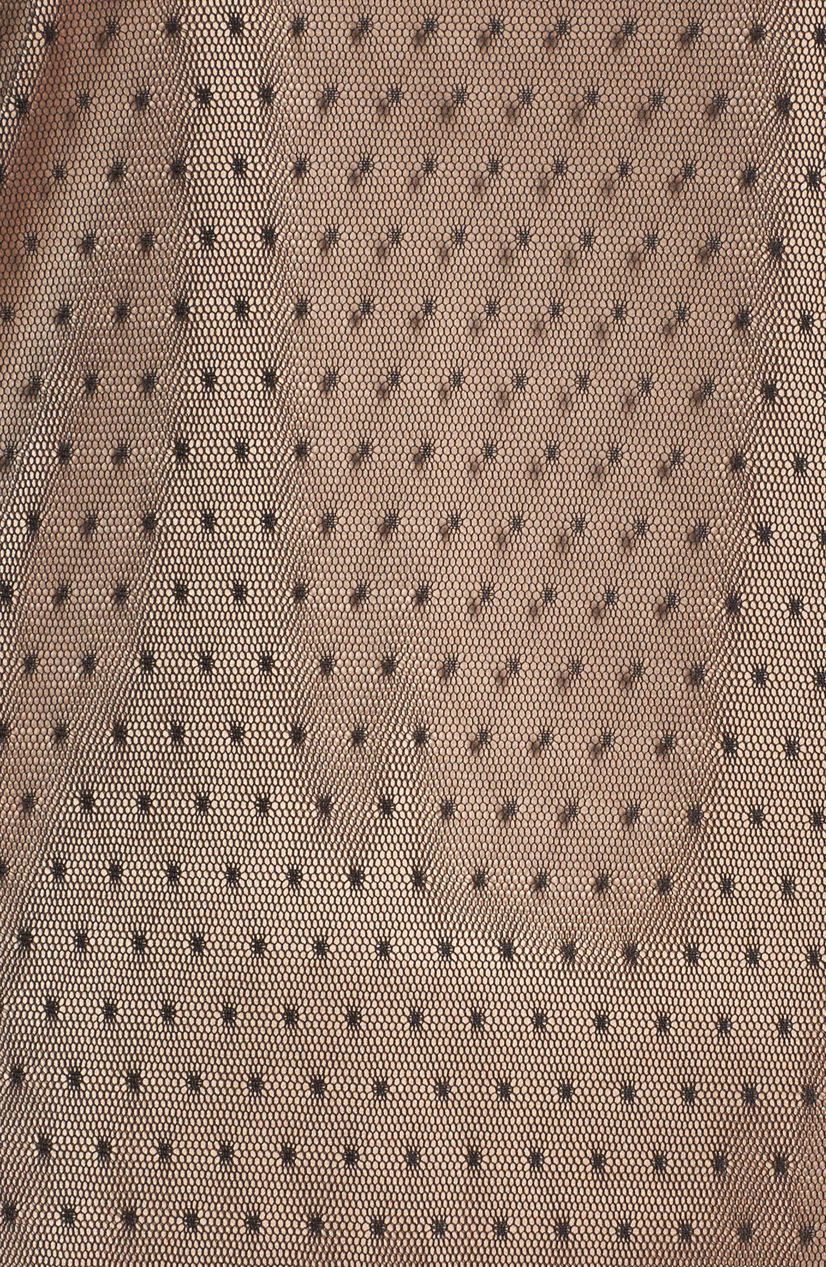 Polka Dot Net Shift Dress,                             Alternate thumbnail 5, color,                             Black