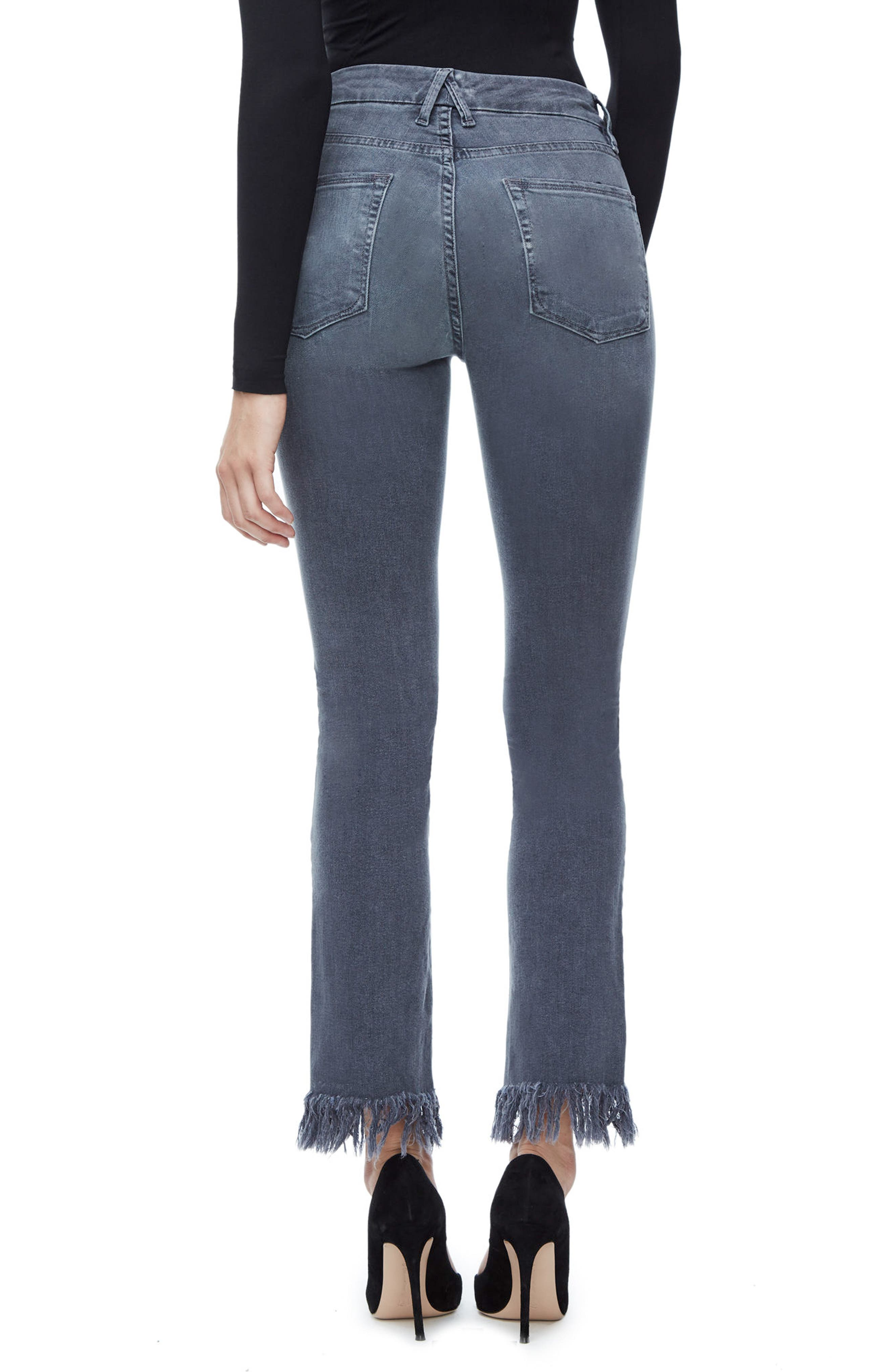 Alternate Image 2  - Good American Good Straight Crop Straight Leg Jeans (Grey 001) (Extended Sizes)