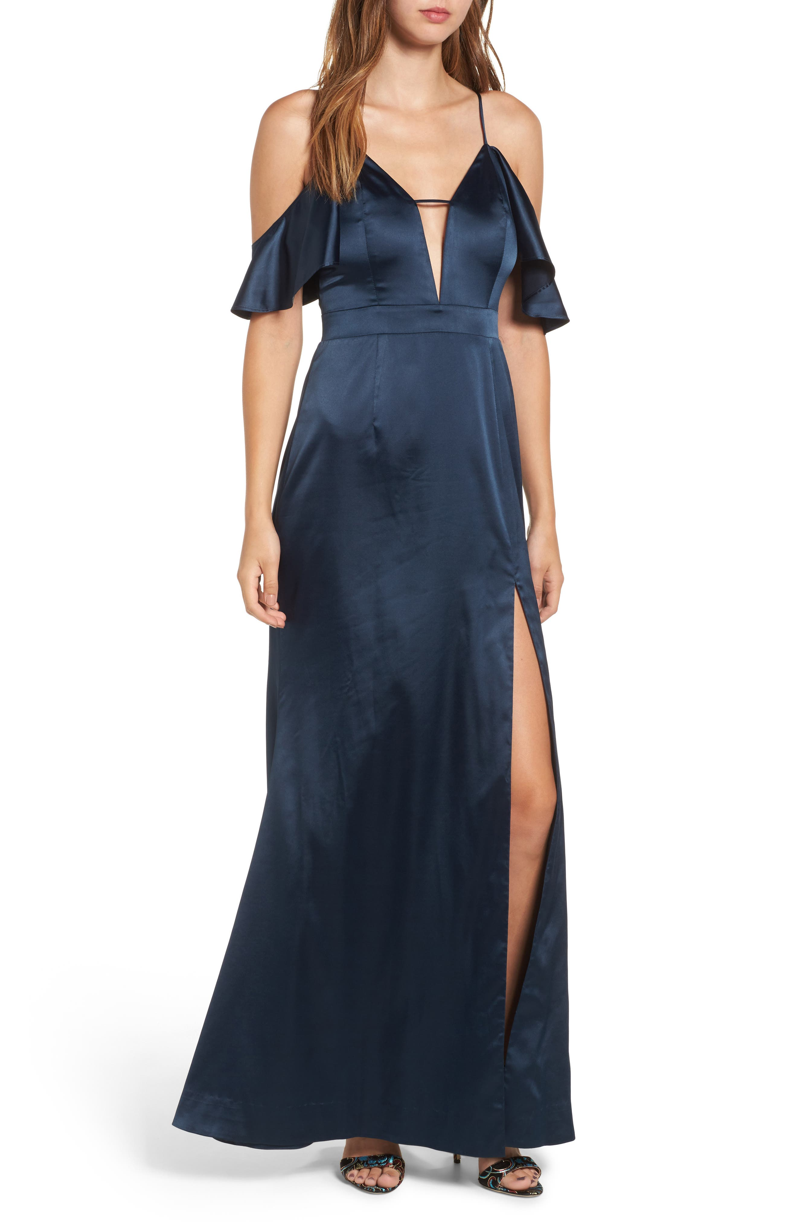 Niaa Cold Shoulder Gown,                             Main thumbnail 1, color,                             Navy