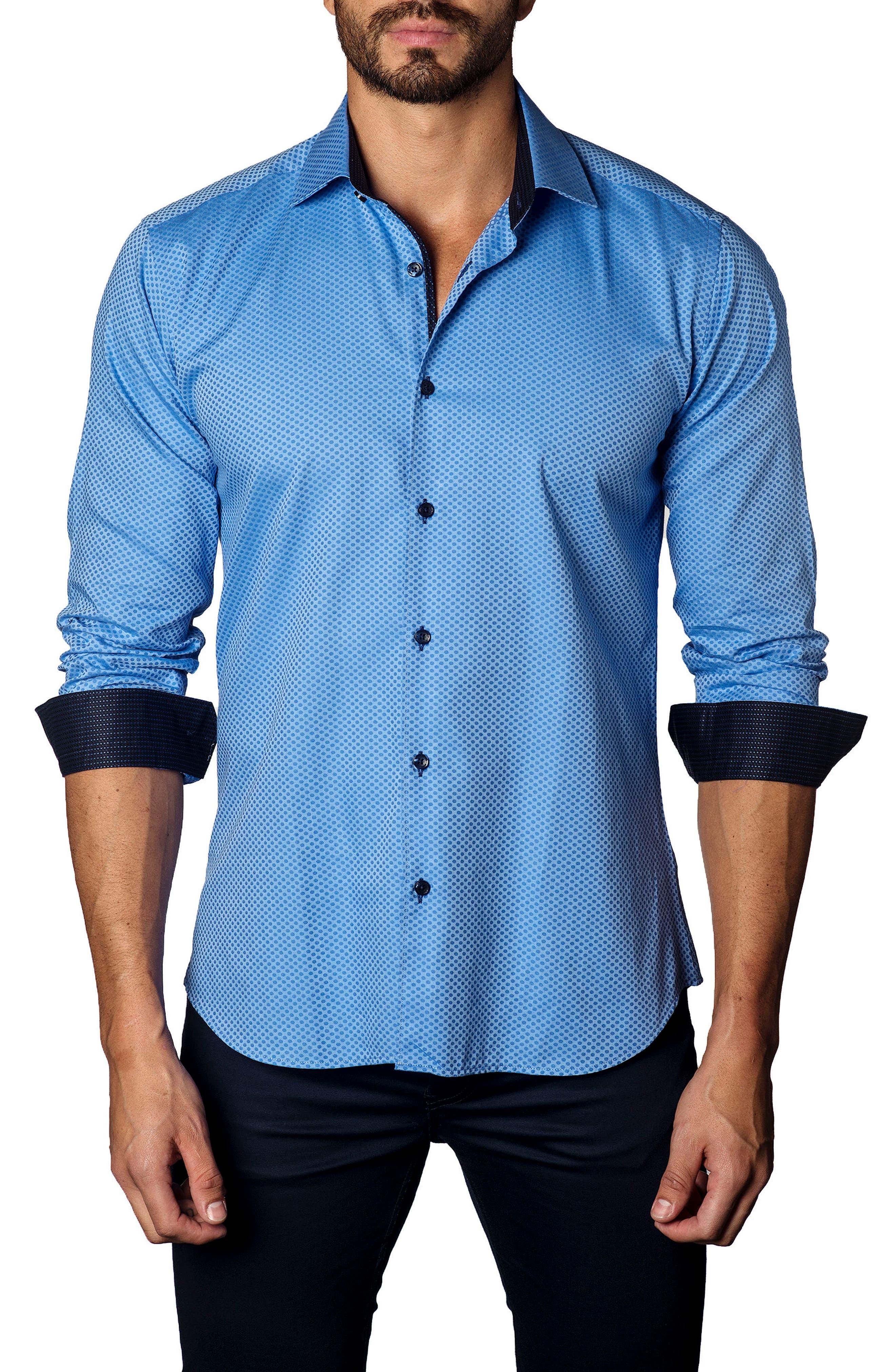 Alternate Image 1 Selected - Jared Lang Trim Fit Dot Jacquard Sport Shirt