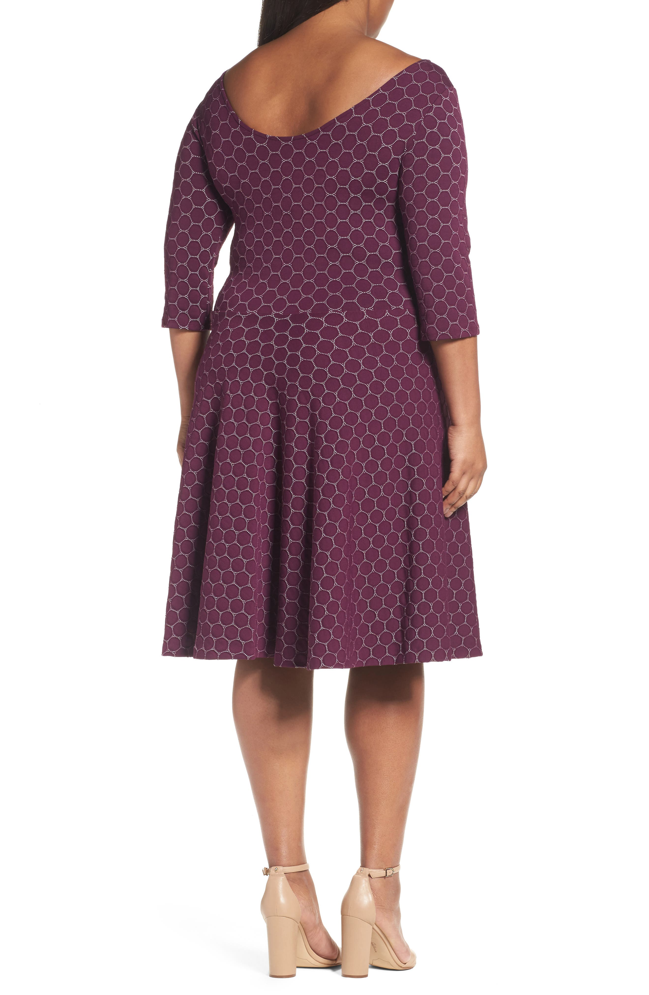Alternate Image 2  - Leota Circle Knit Fit & Flare Dress (Plus Size)