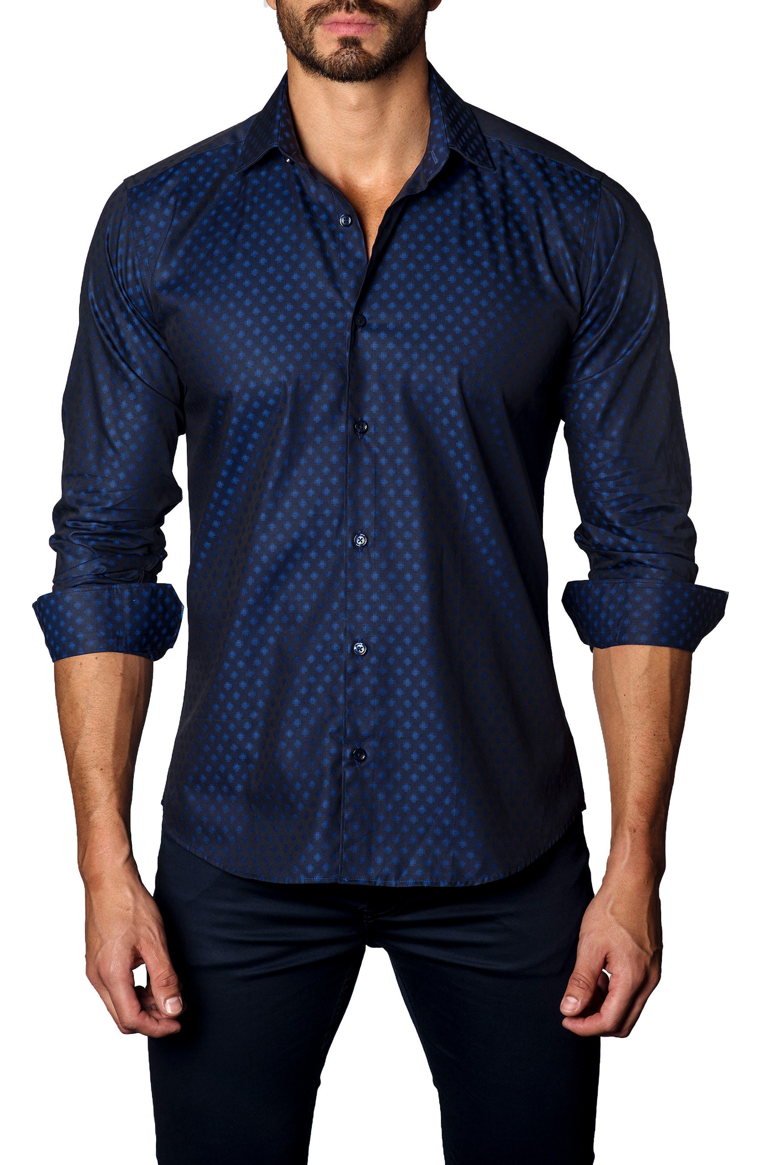 Jared Lang Trim Fit Dot Sport Shirt