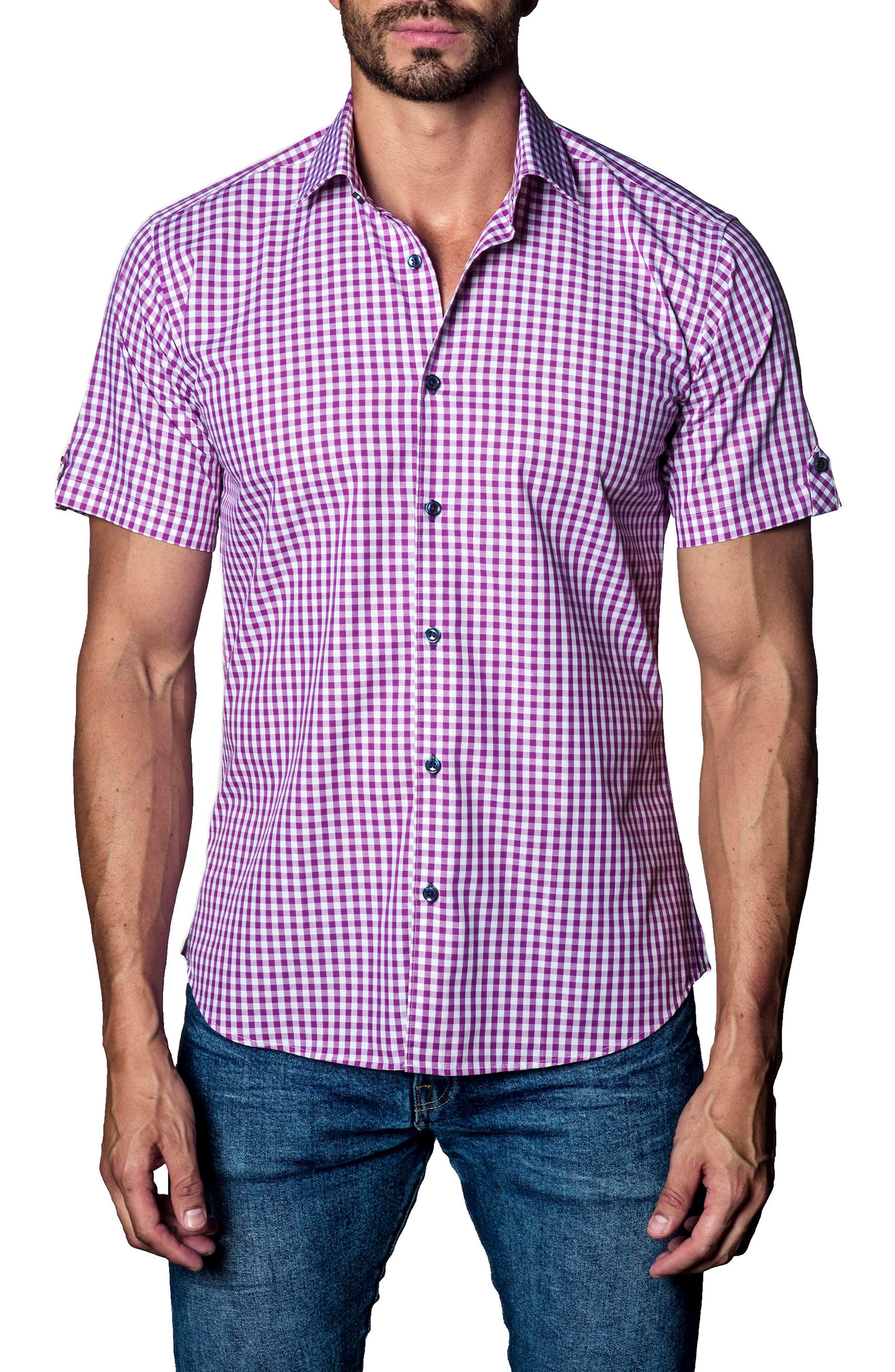 Check Sport Shirt,                         Main,                         color, Purple Check
