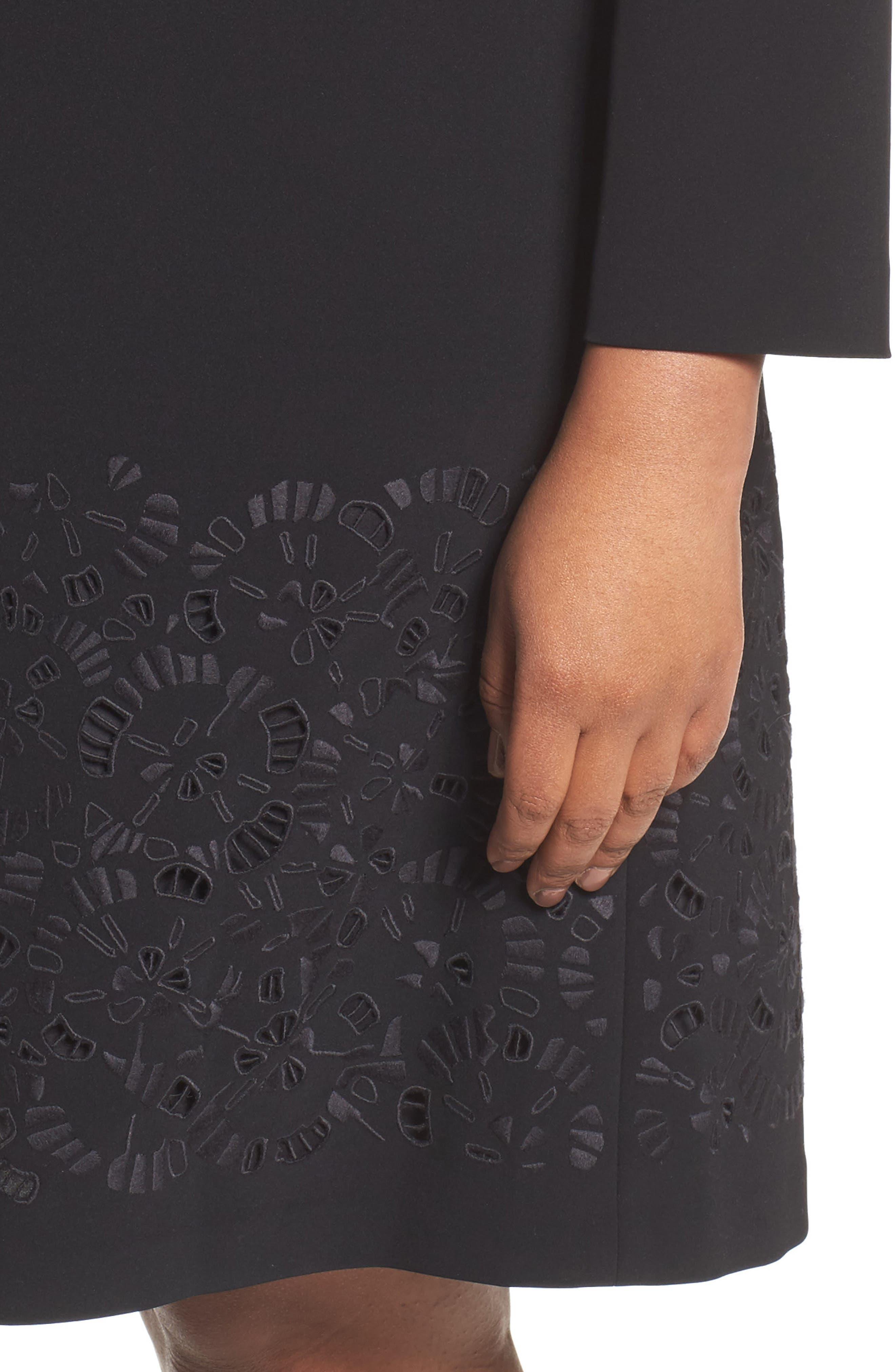 Corbin Laser Cut Dress,                             Alternate thumbnail 4, color,                             Black