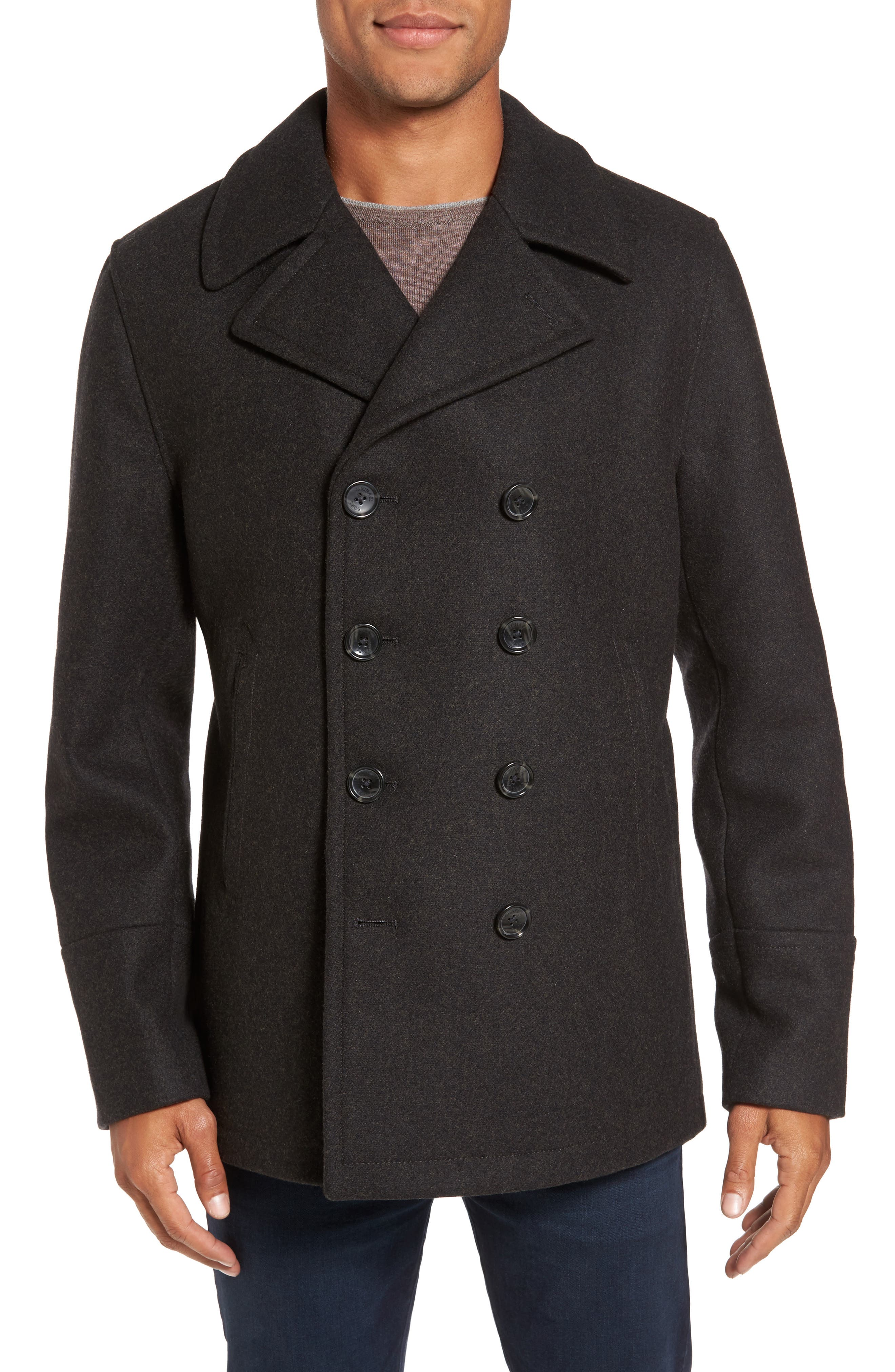 Wool Blend Peacoat,                         Main,                         color, Loden Heather