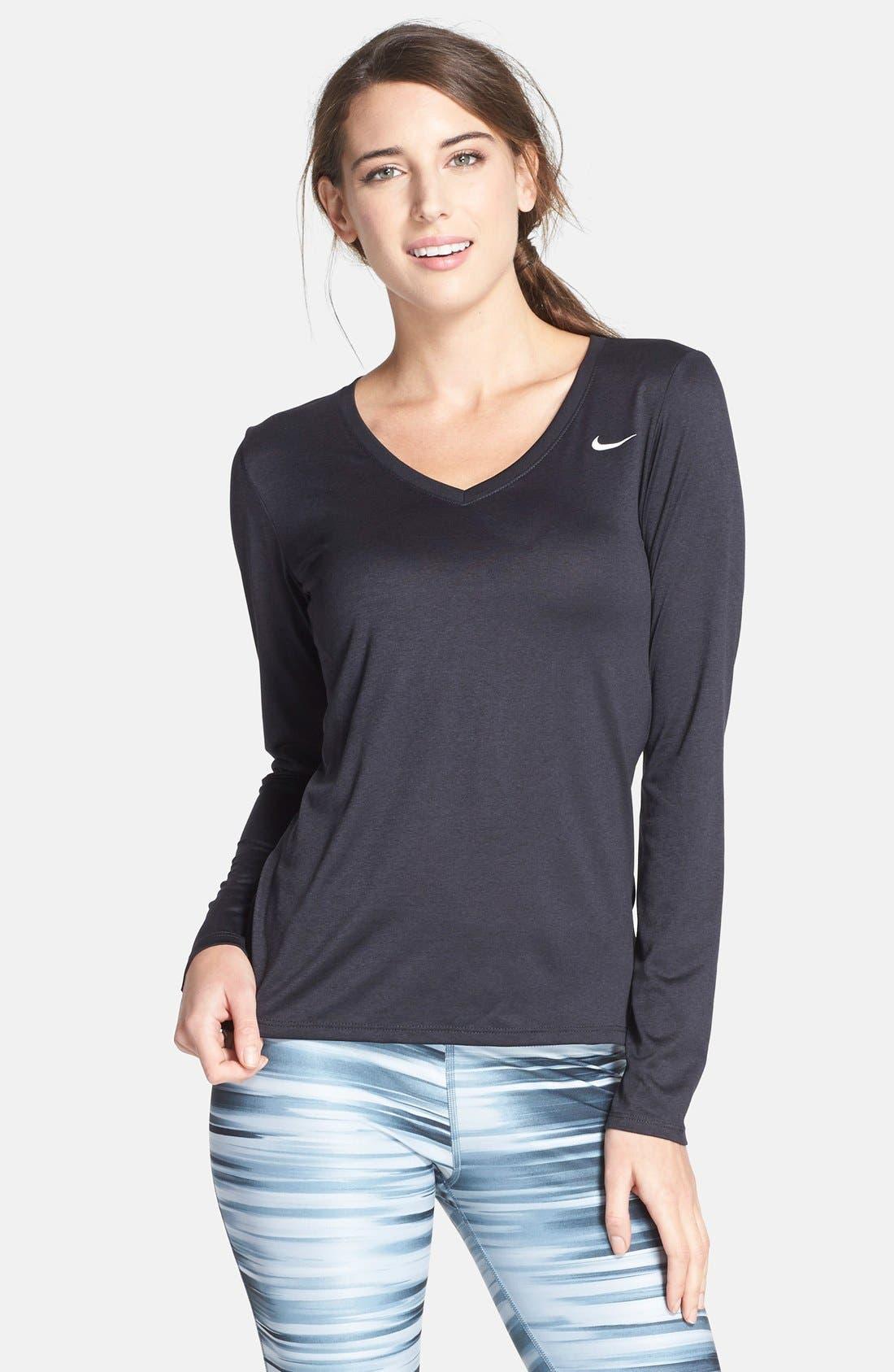 Alternate Image 1 Selected - Nike 'Legend' Dri-FIT V-Neck Long Sleeve Sport Top
