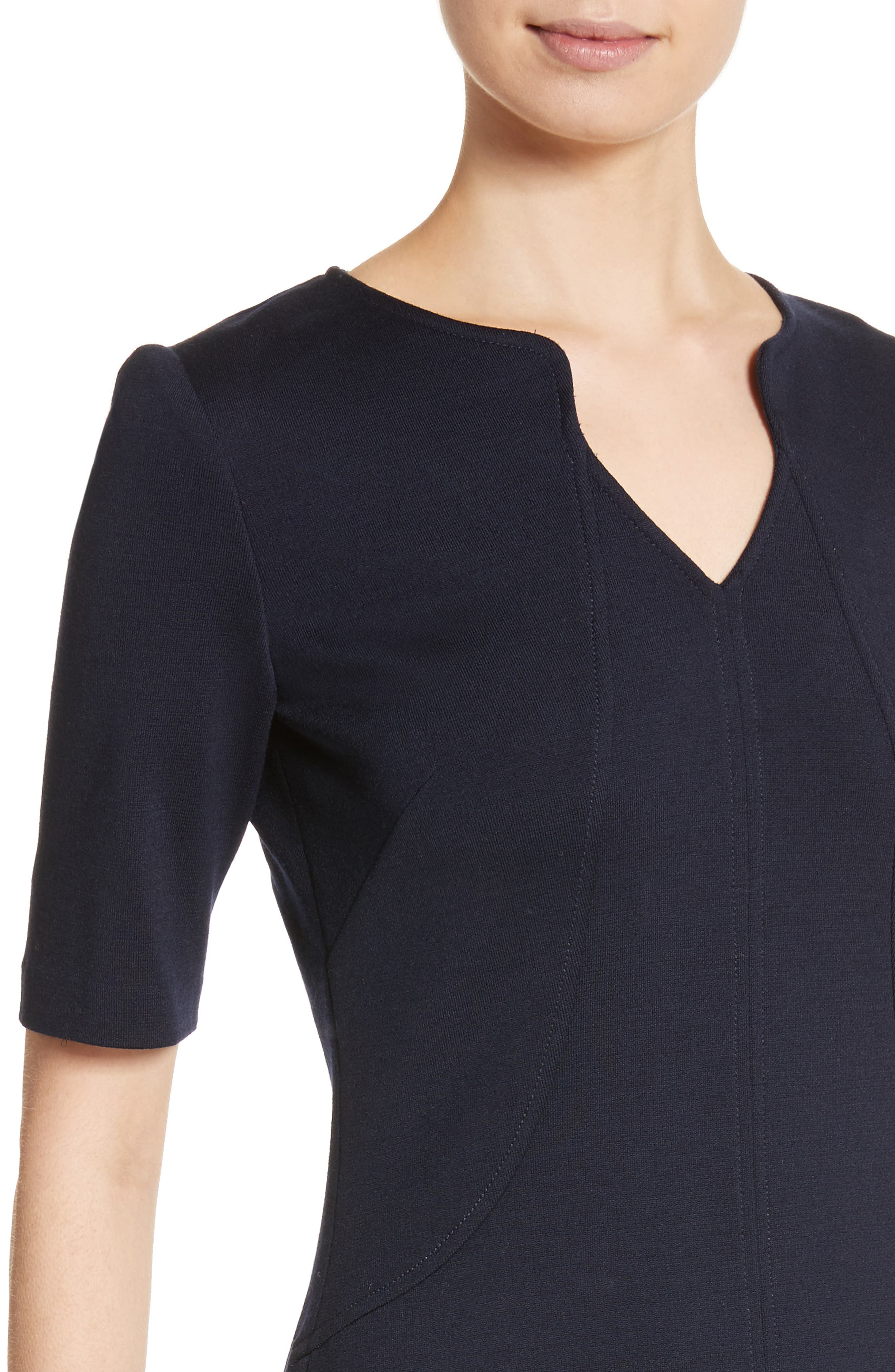 Milano Knit A-Line Dress,                             Alternate thumbnail 4, color,                             Navy