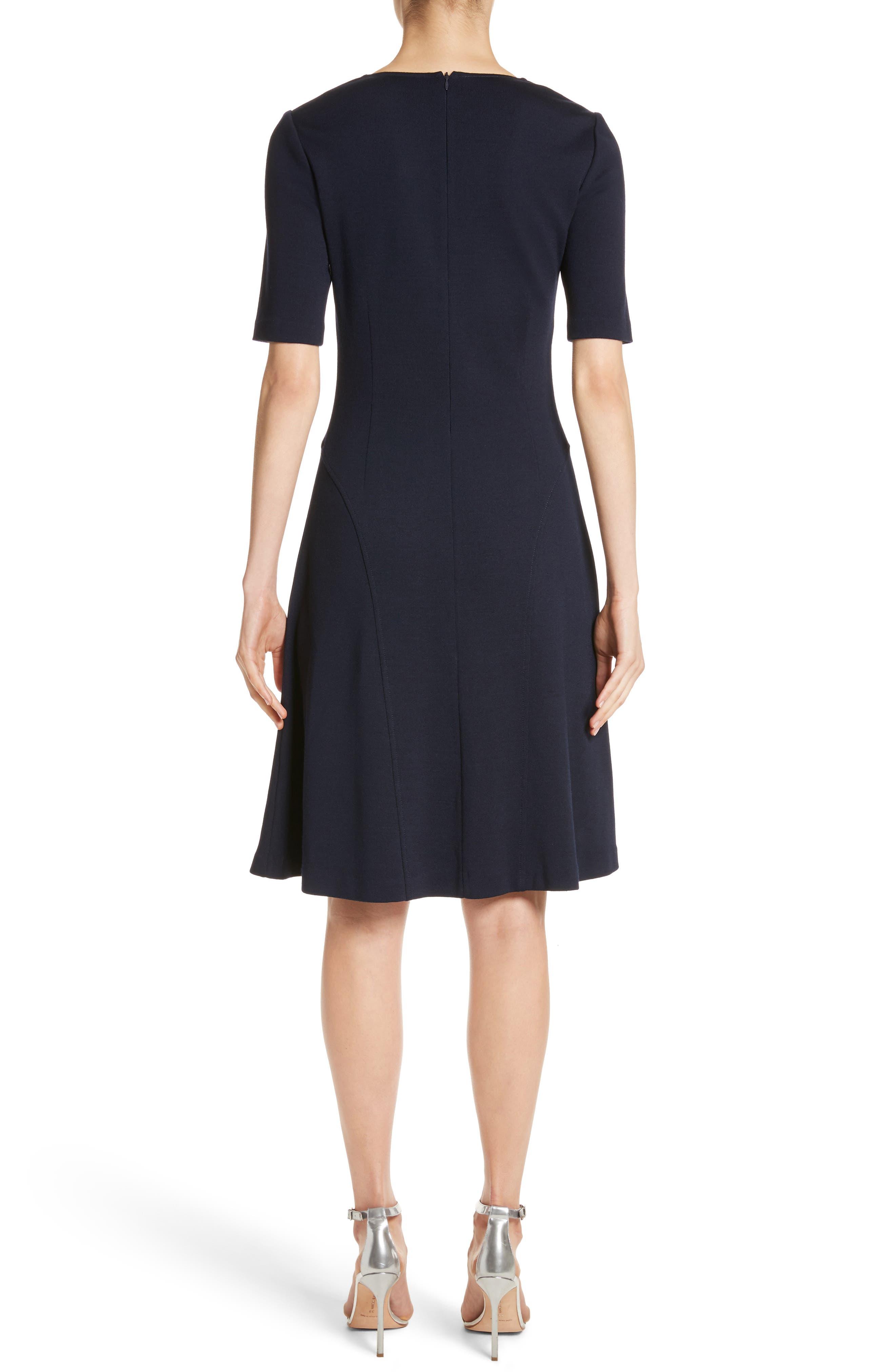 Milano Knit A-Line Dress,                             Alternate thumbnail 2, color,                             Navy