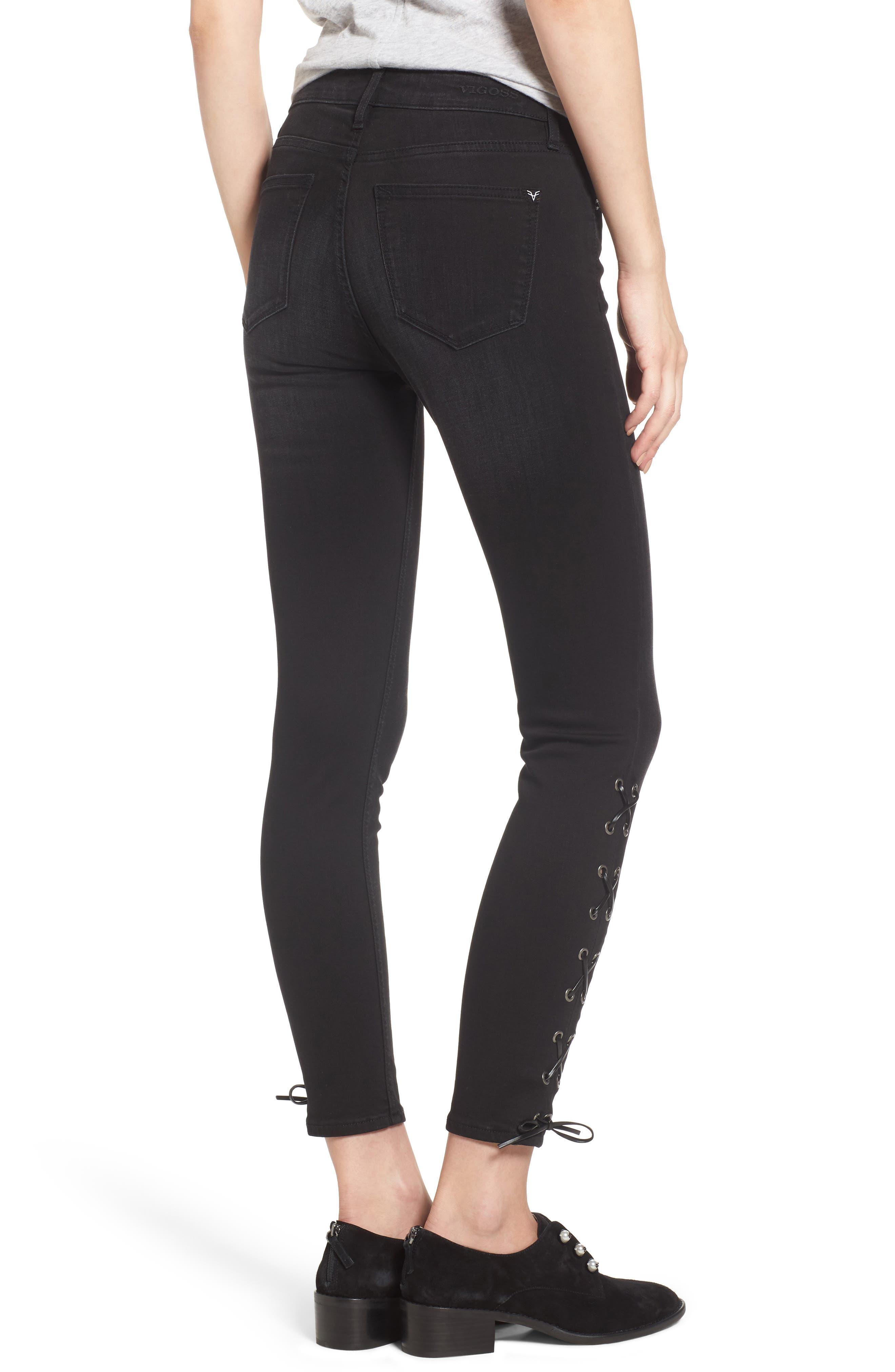 Alternate Image 2  - Vigoss Lace-Up Distressed Skinny Jeans
