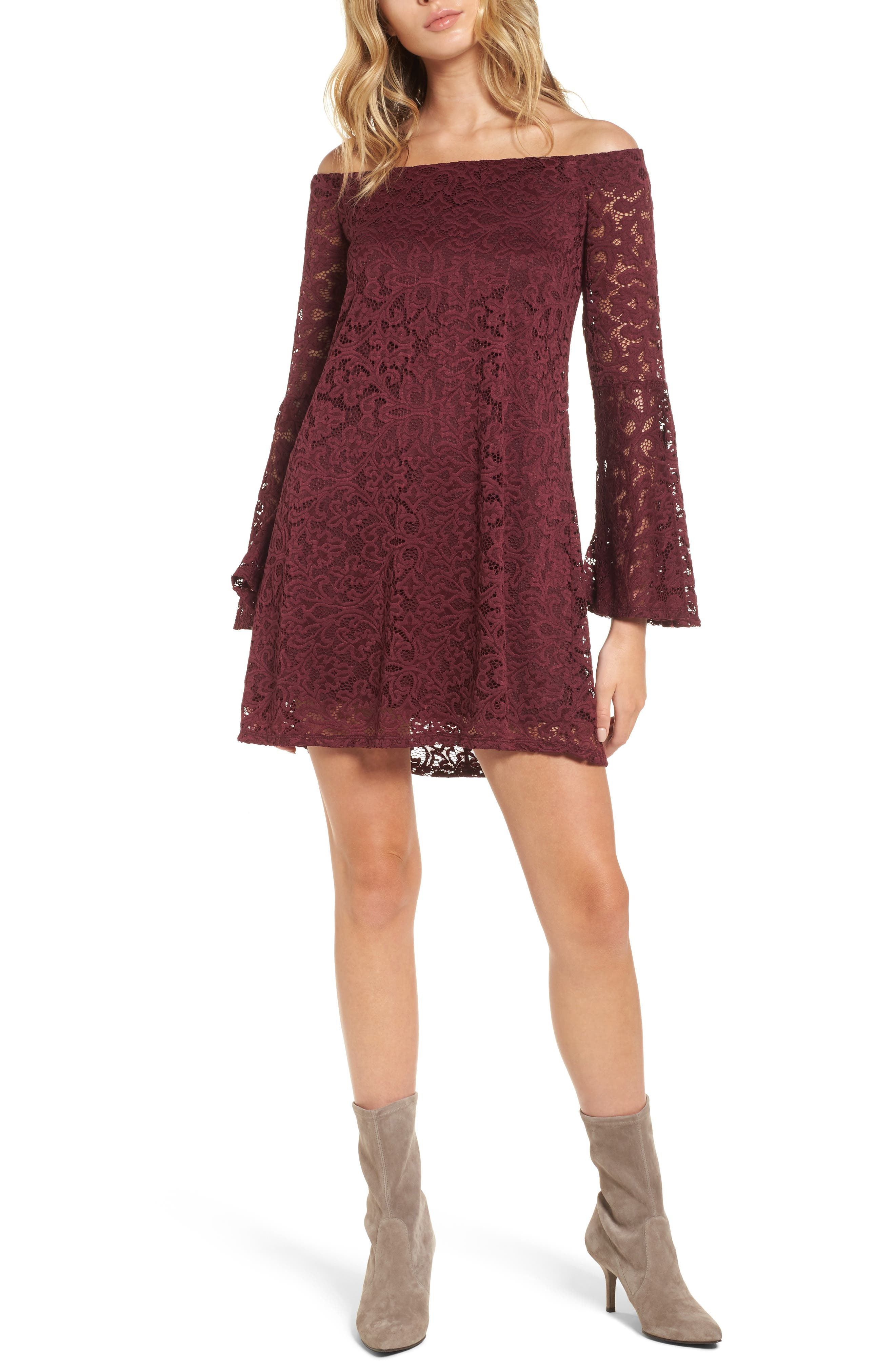 Lace Bell Sleeve Off the Shoulder Dress,                         Main,                         color, Burgundy