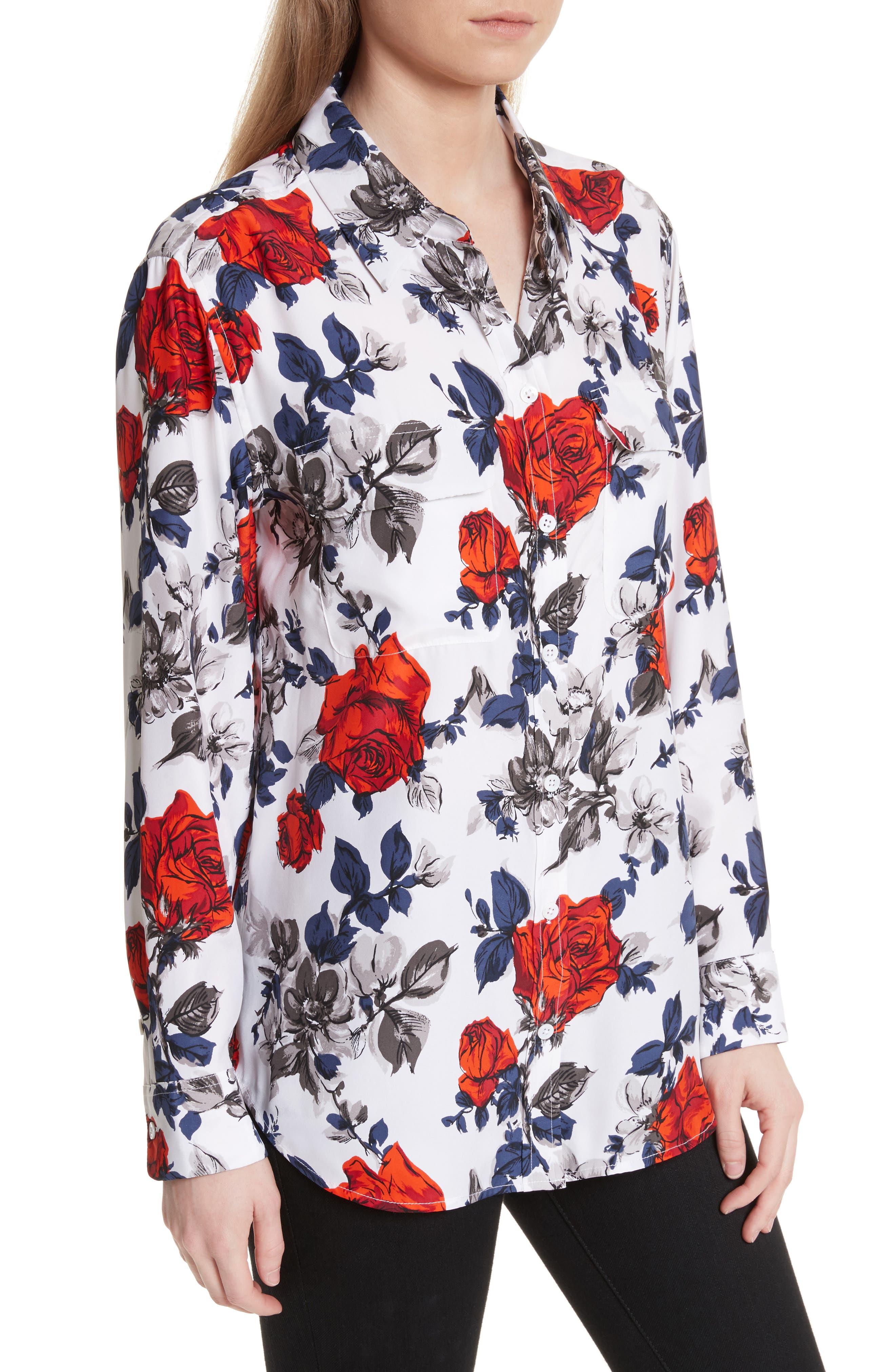 Signature Floral Silk Shirt,                             Alternate thumbnail 4, color,                             Bright White Multi