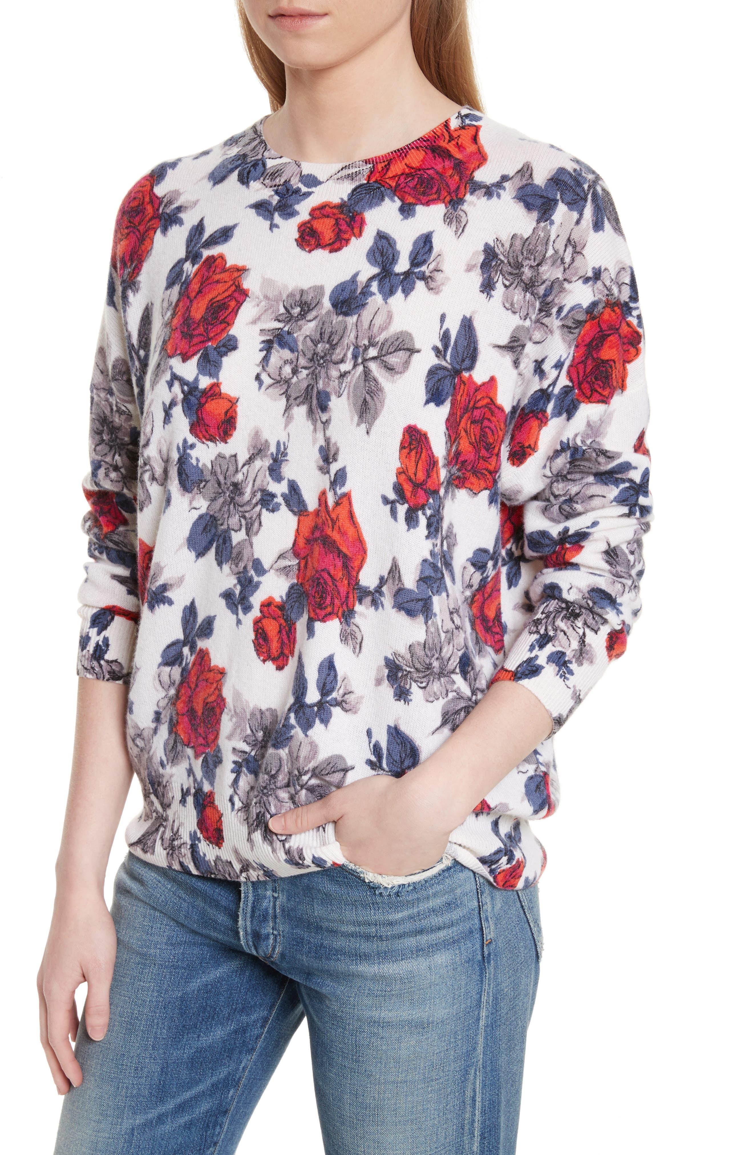Melanie Flower Print Cashmere Sweater,                             Alternate thumbnail 4, color,                             Ivory Multi