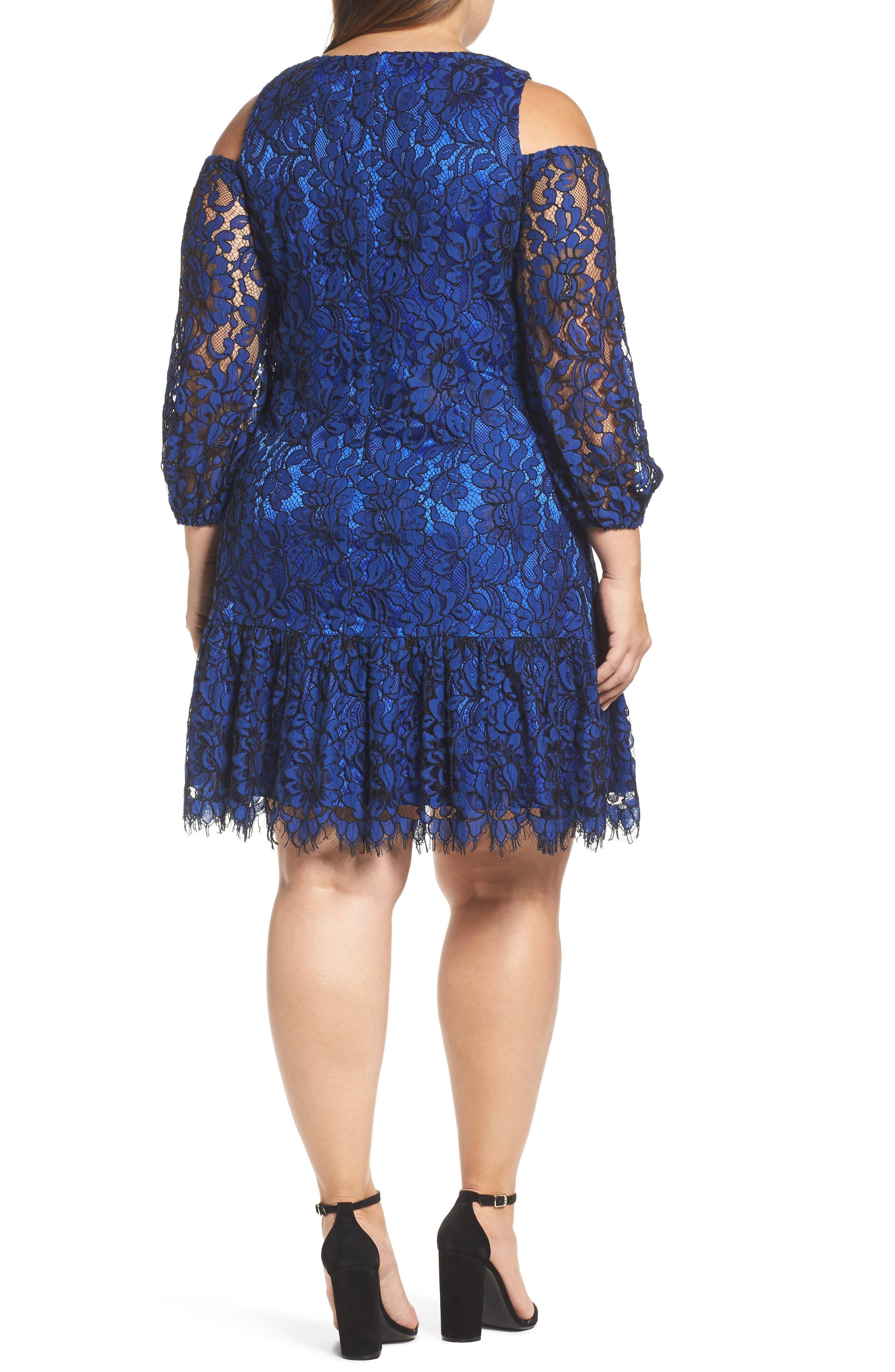Lace Cold Shoulder Dress,                             Alternate thumbnail 2, color,                             Cobalt/ Black
