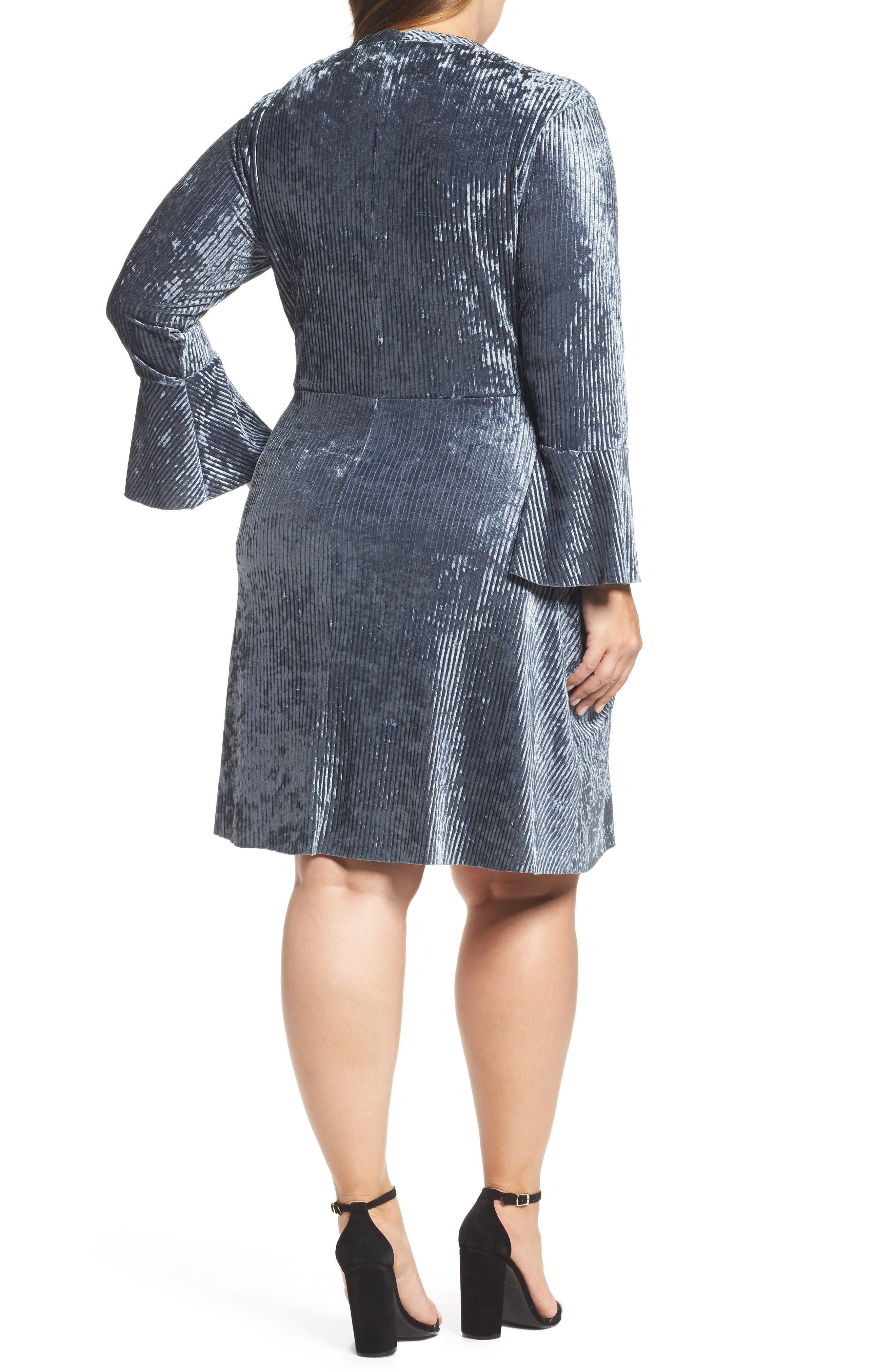 Alternate Image 2  - ELVI Plissé Velvet Bell Sleeve Dress (Plus Size)