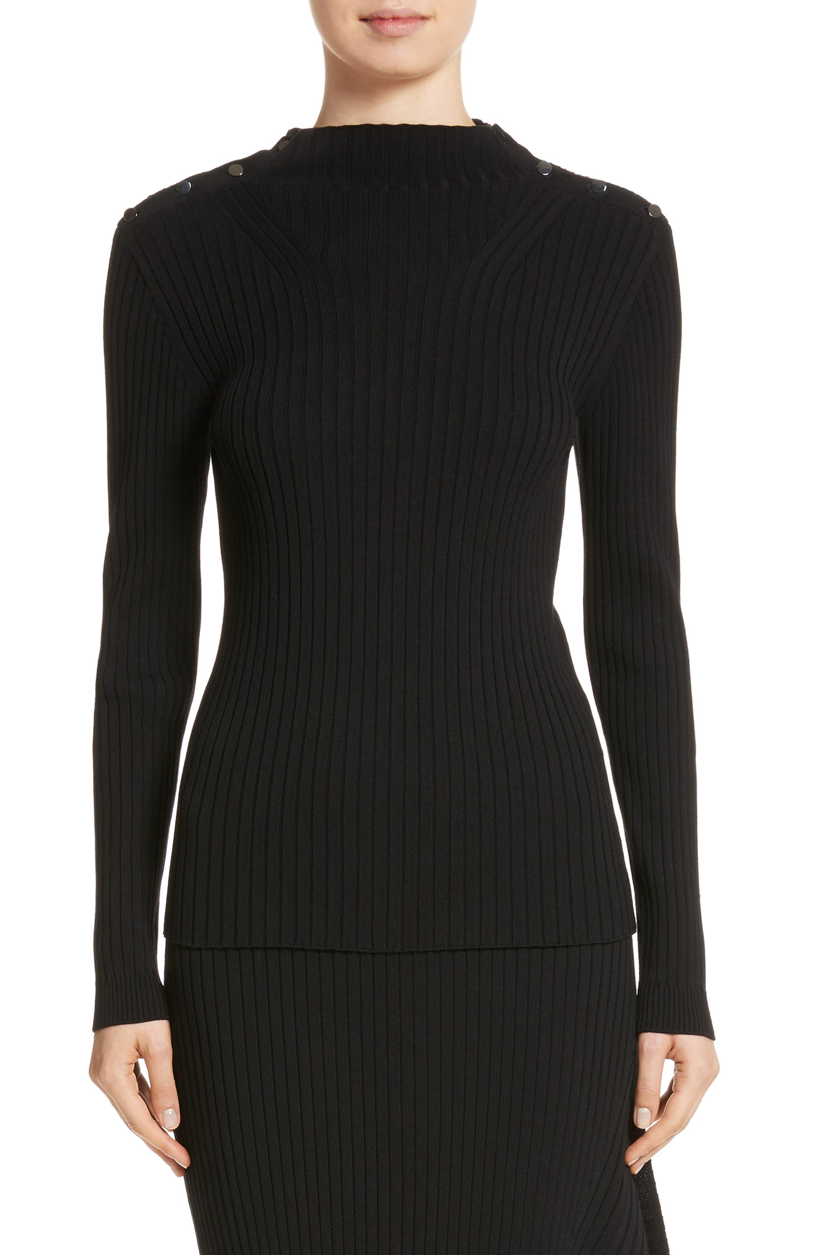 Flat Rib Knit Mock Neck Sweater,                         Main,                         color, Caviar