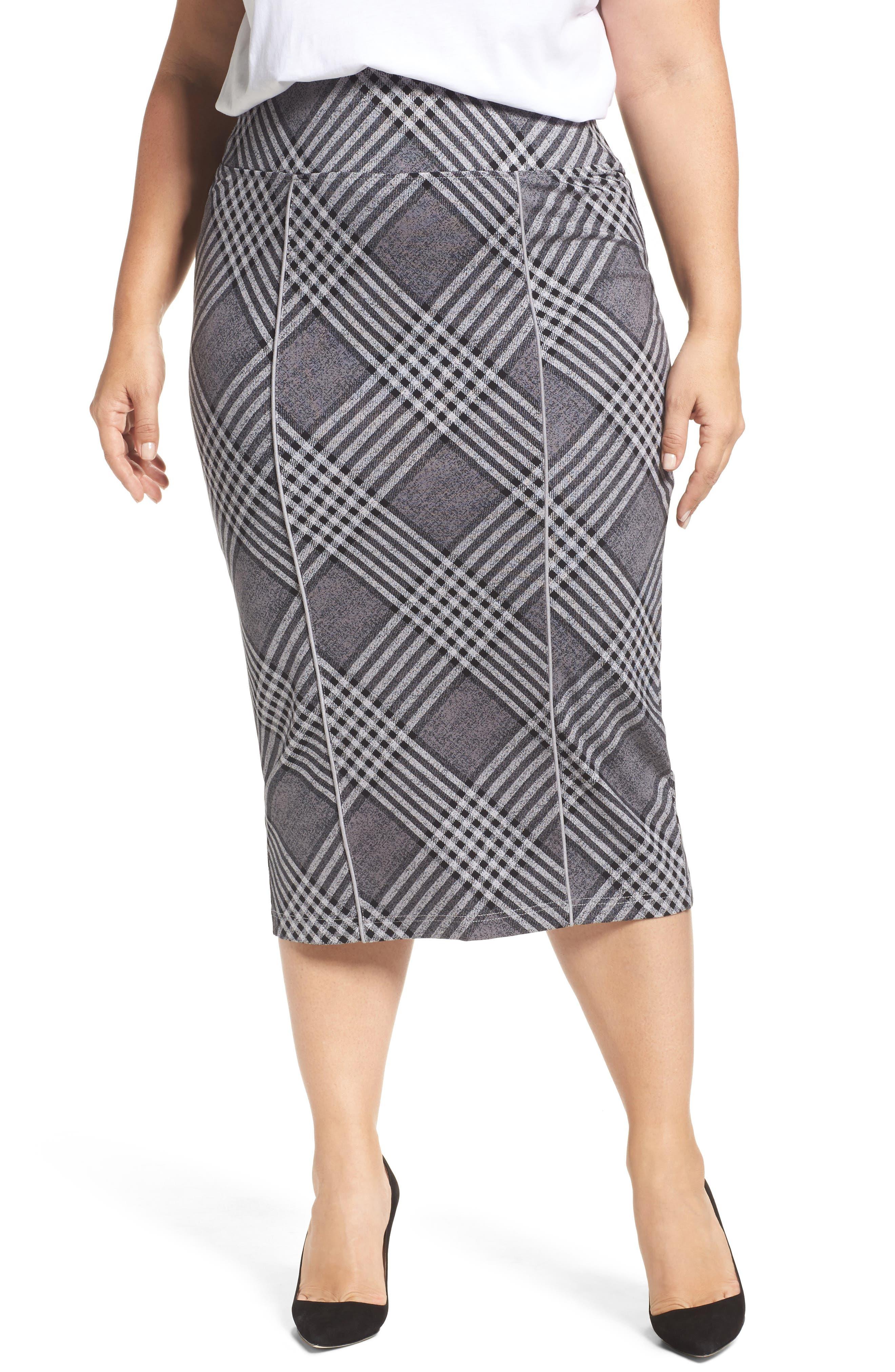 Plaid Pencil Skirt,                         Main,                         color, Diagonal Plaid W/ Silver