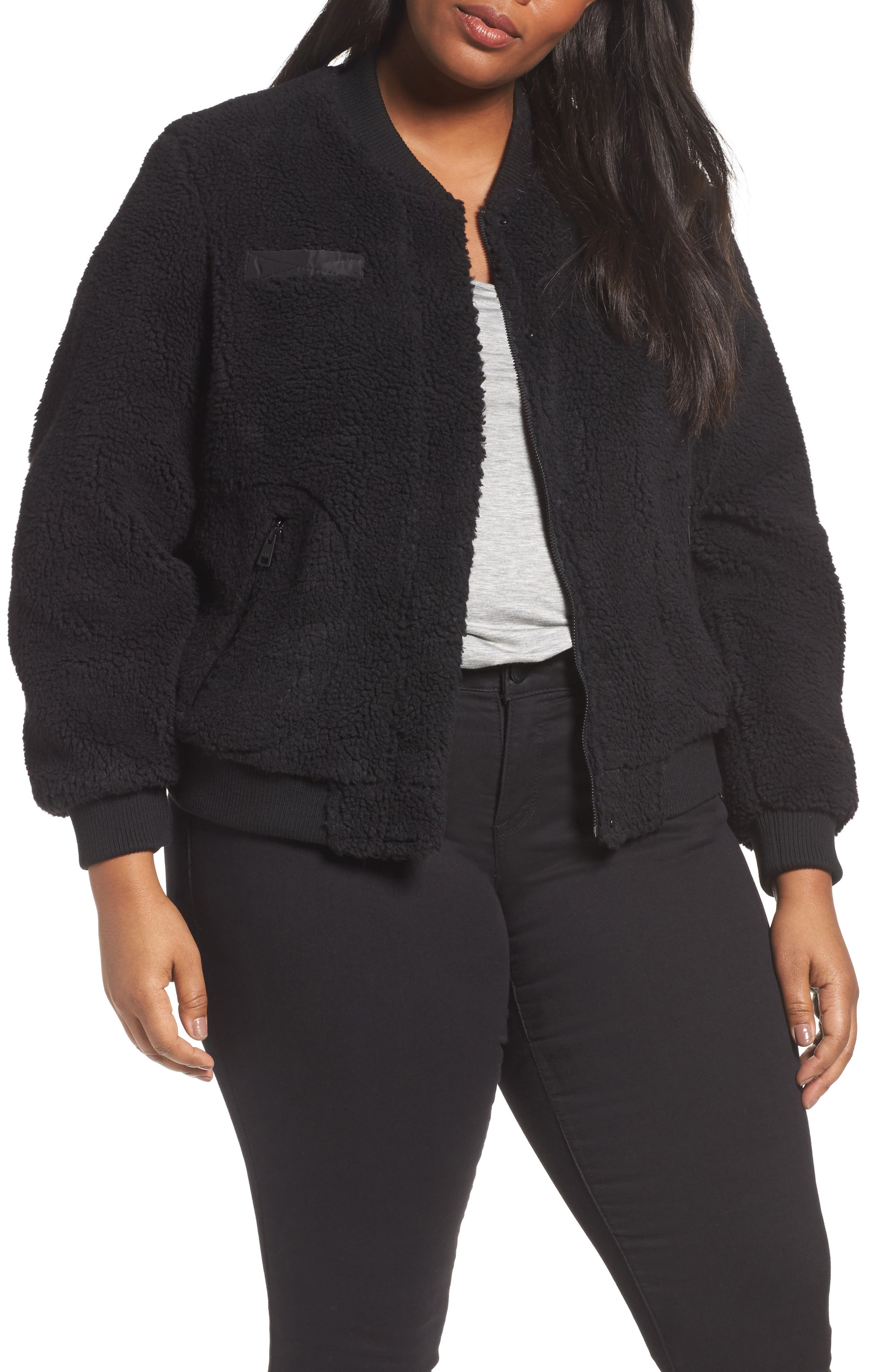 Rib Knit Fleece Bomber Jacket,                             Main thumbnail 1, color,                             Black