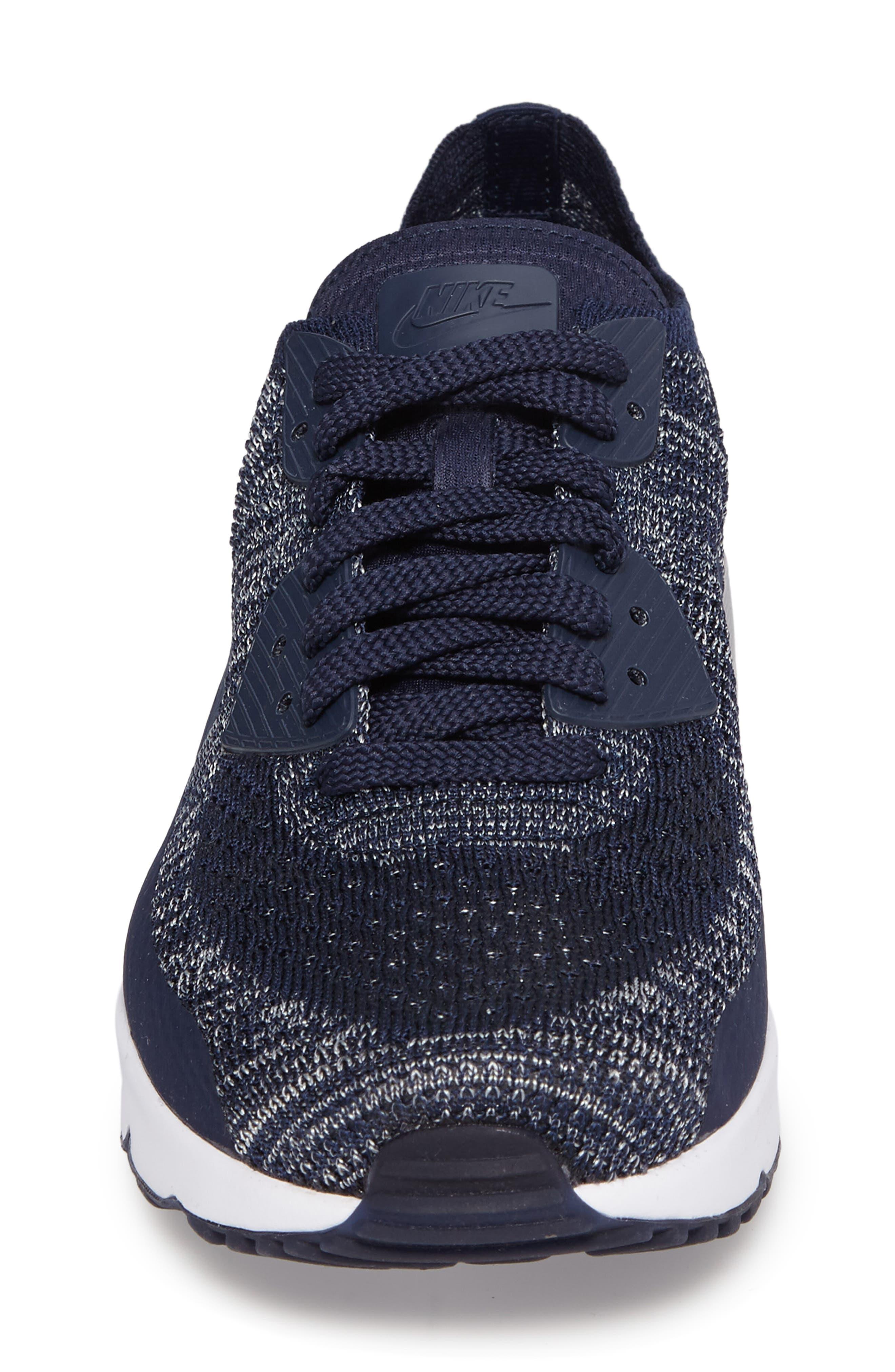 Air Max 90 Ultra 2.0 Flyknit Sneaker,                             Alternate thumbnail 4, color,                             Navy/ Navy/ Grey