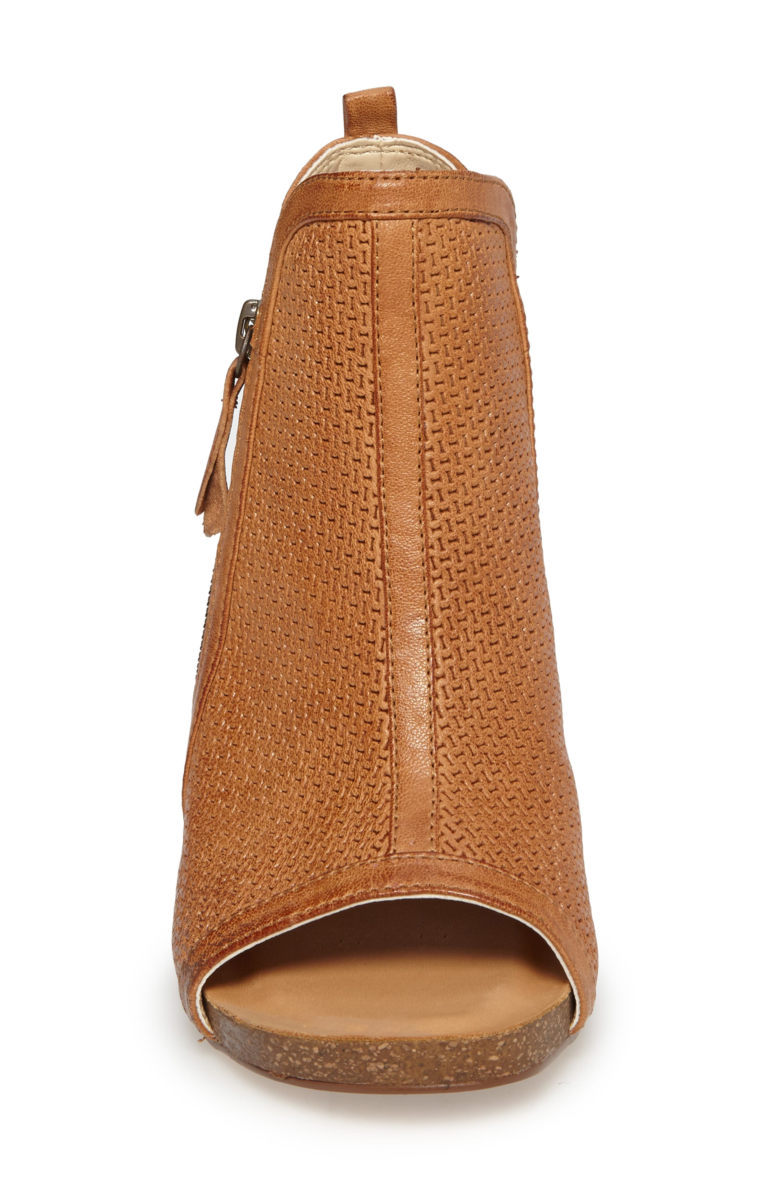 Iliana Open Toe Bootie,                             Alternate thumbnail 4, color,                             Luggage Leather