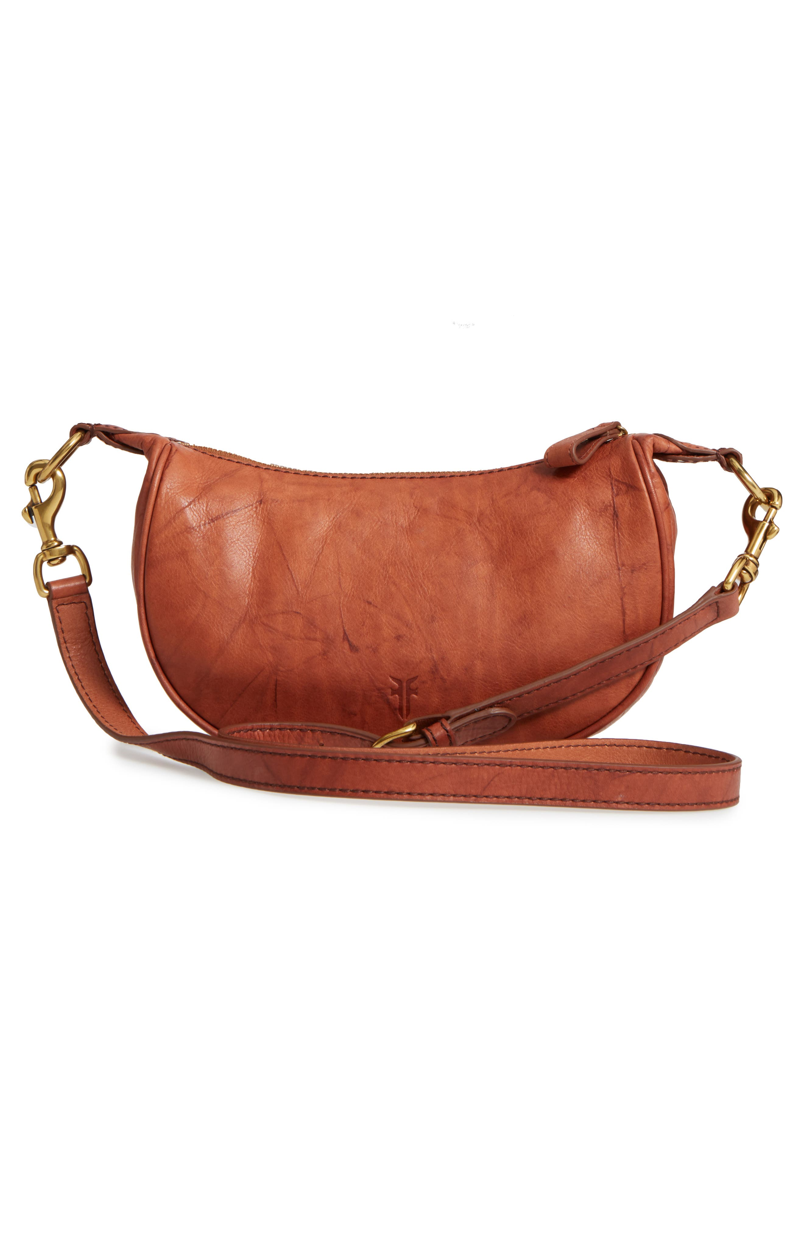 Small Campus Leather Crossbody Bag,                             Alternate thumbnail 3, color,                             Saddle
