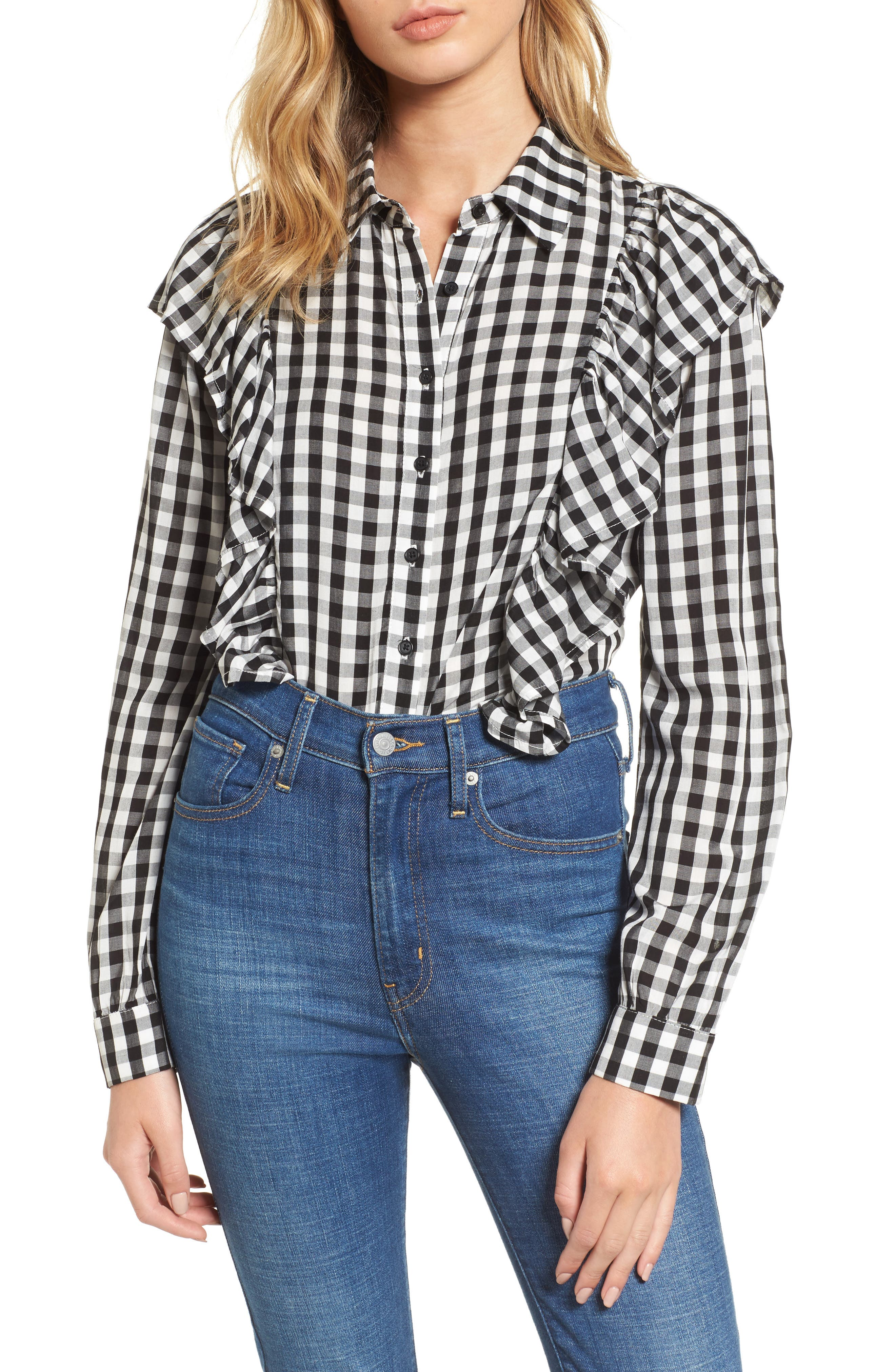 Love, Fire Ruffle Gingham Shirt
