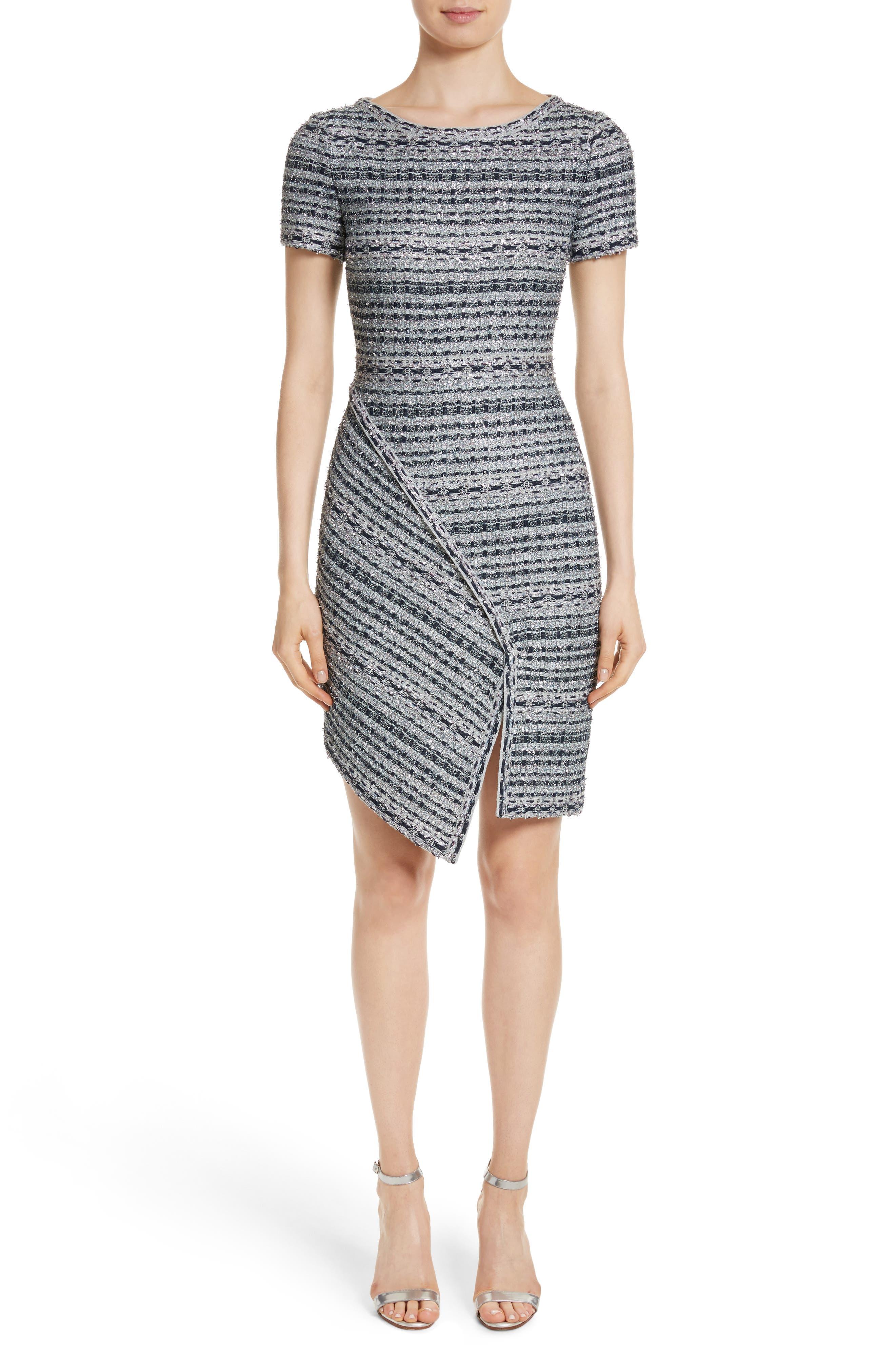 Metallic Jacquard Dress,                             Main thumbnail 1, color,                             Gunmetal Multi
