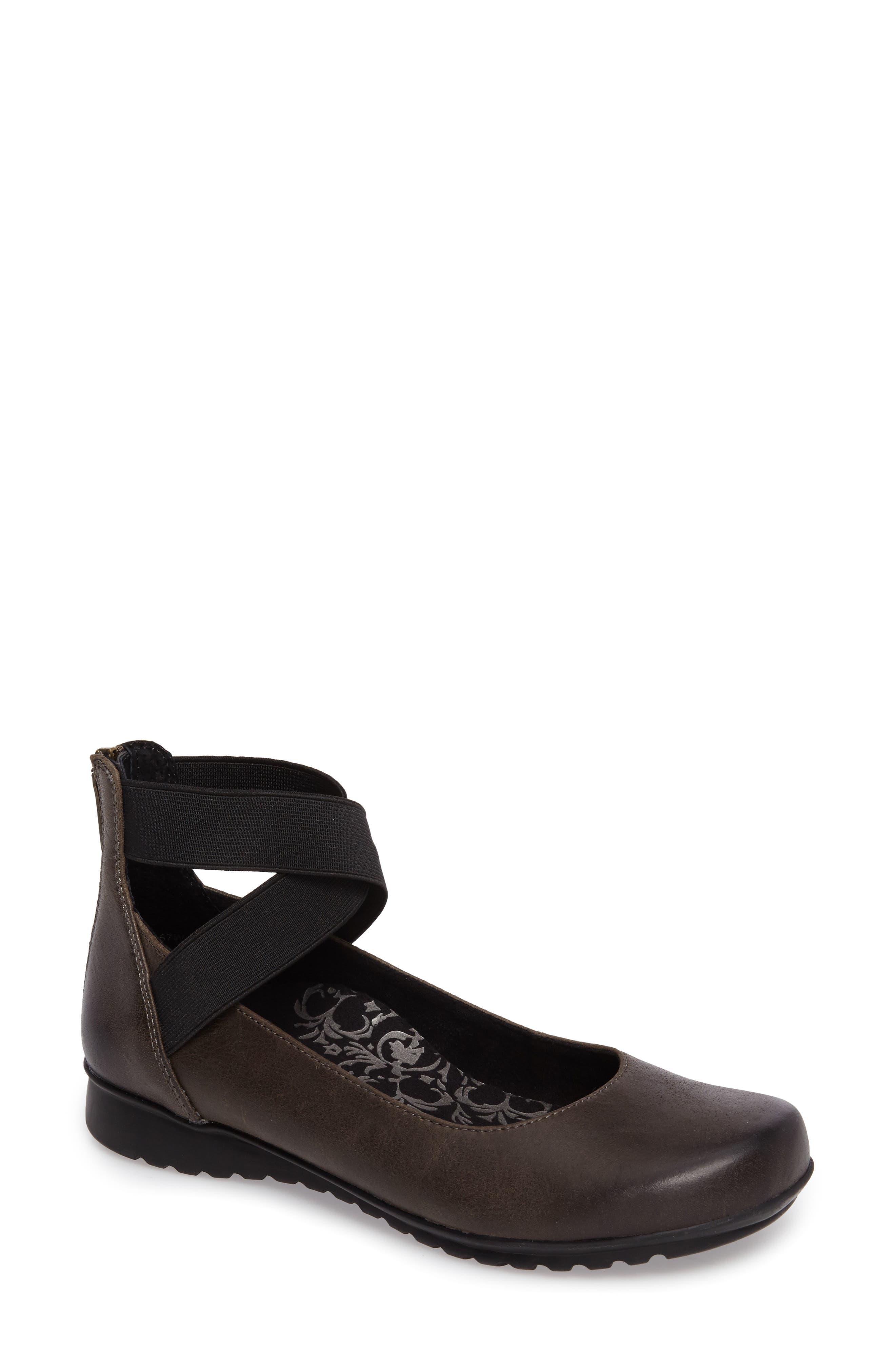'Dakota' Ankle Strap Ballet Flat,                             Main thumbnail 1, color,                             Iron Leather