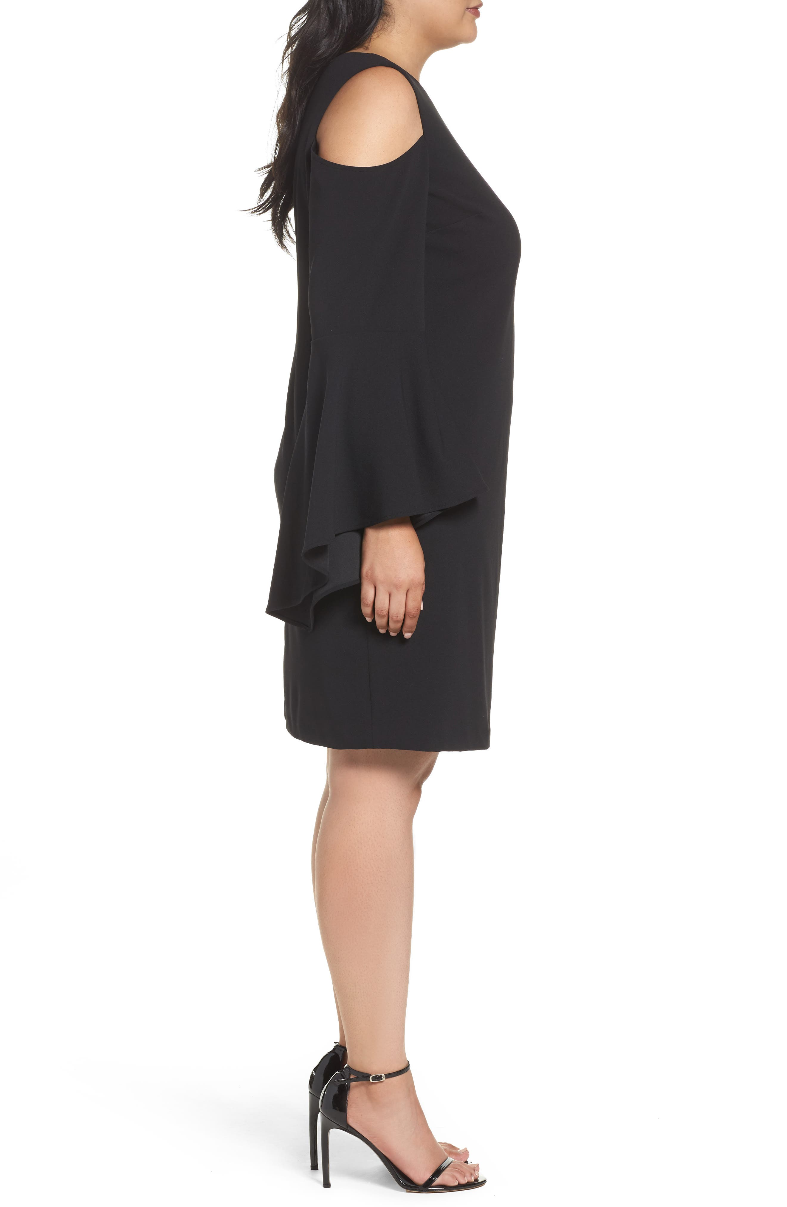 Alternate Image 3  - Vince Camuto Flounce Cuff Cold Shoulder Dress (Plus Size)