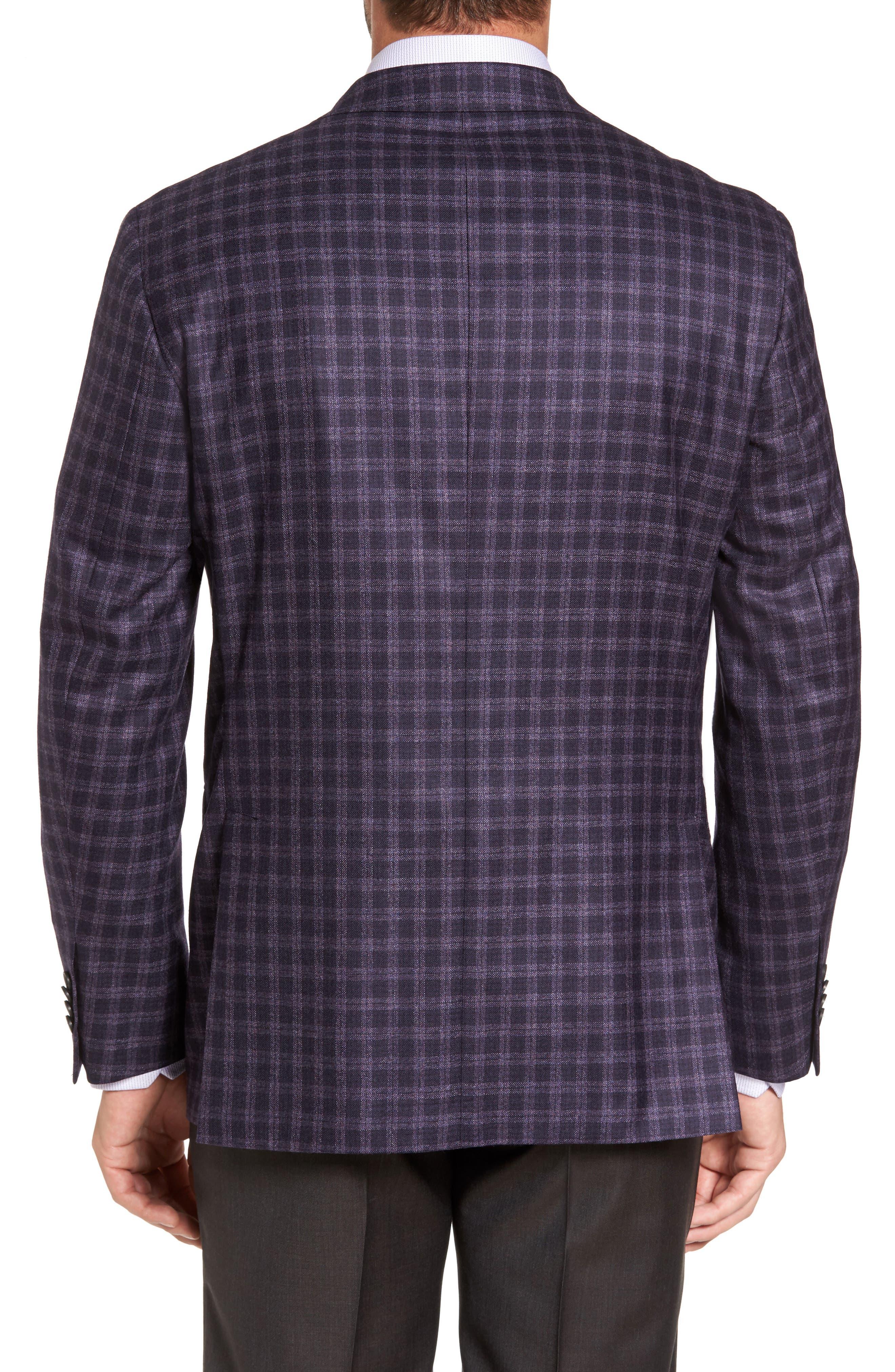 Ashton Classic Fit Check Wool Sport Coat,                             Alternate thumbnail 2, color,                             Burgundy