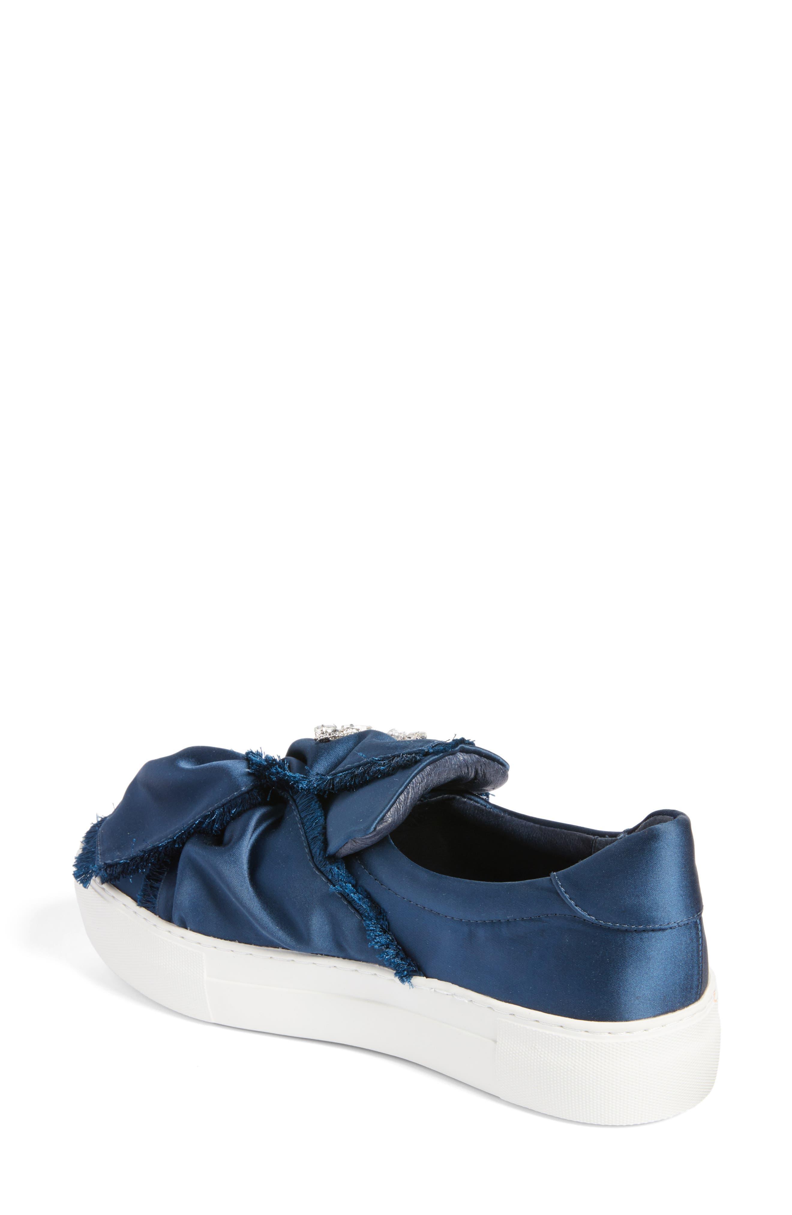 Astor Slip-On Sneaker,                             Alternate thumbnail 2, color,                             Navy Satin
