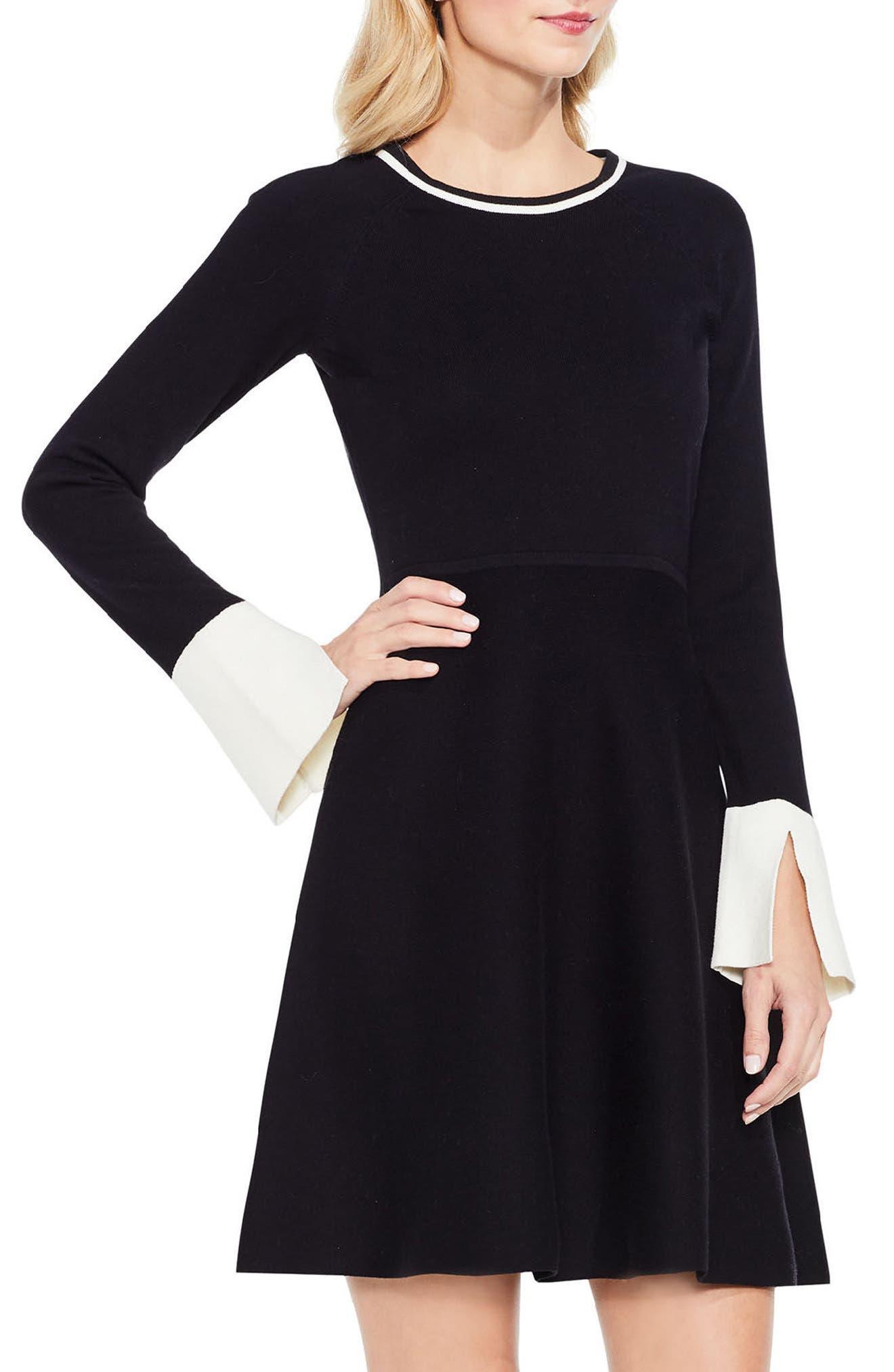 Alternate Image 1 Selected - Vince Camuto Fit & Flare Sweater Dress (Regular & Petite)