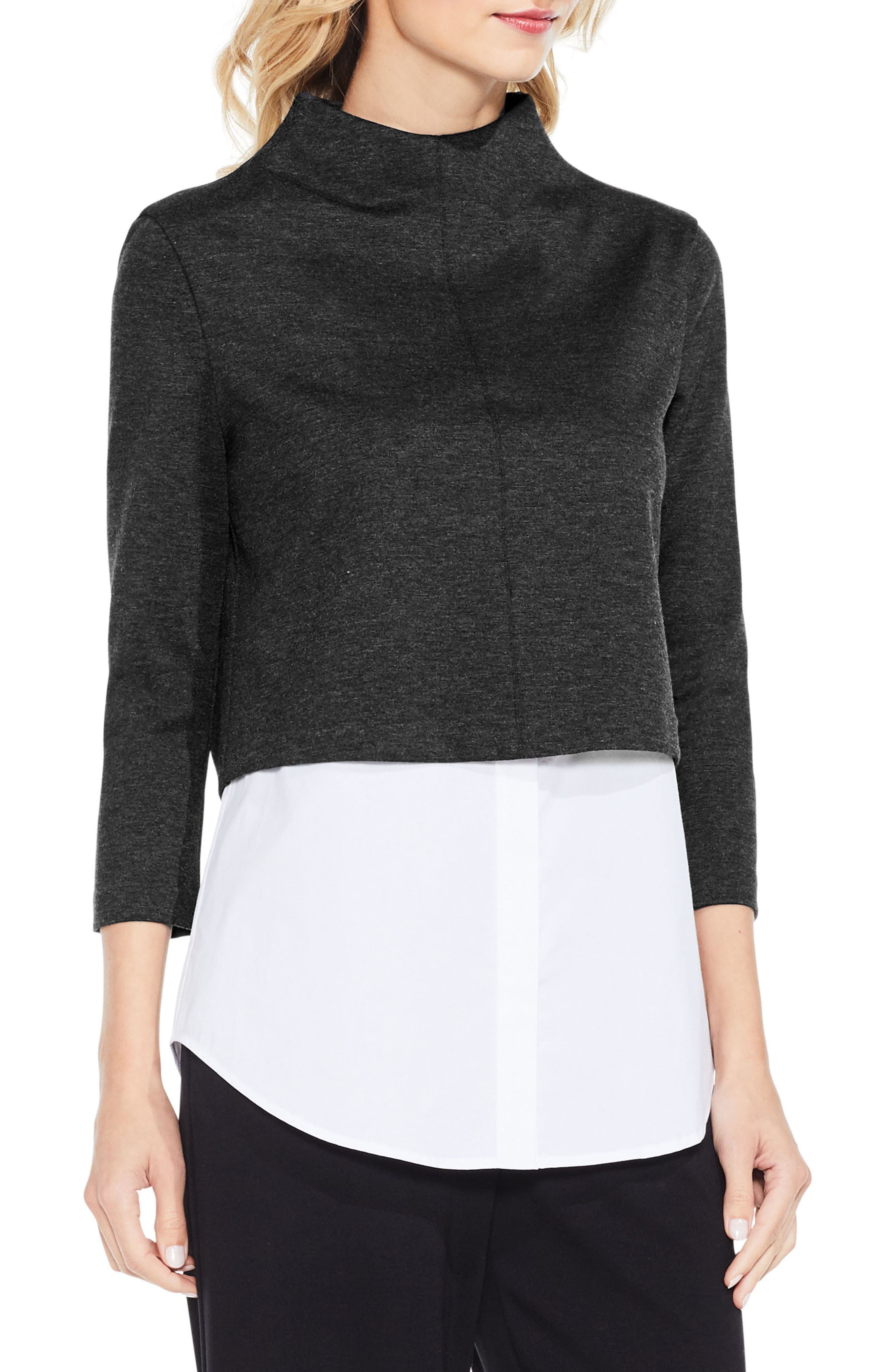 Vince Camuto Layered Look Ponte Knit Top