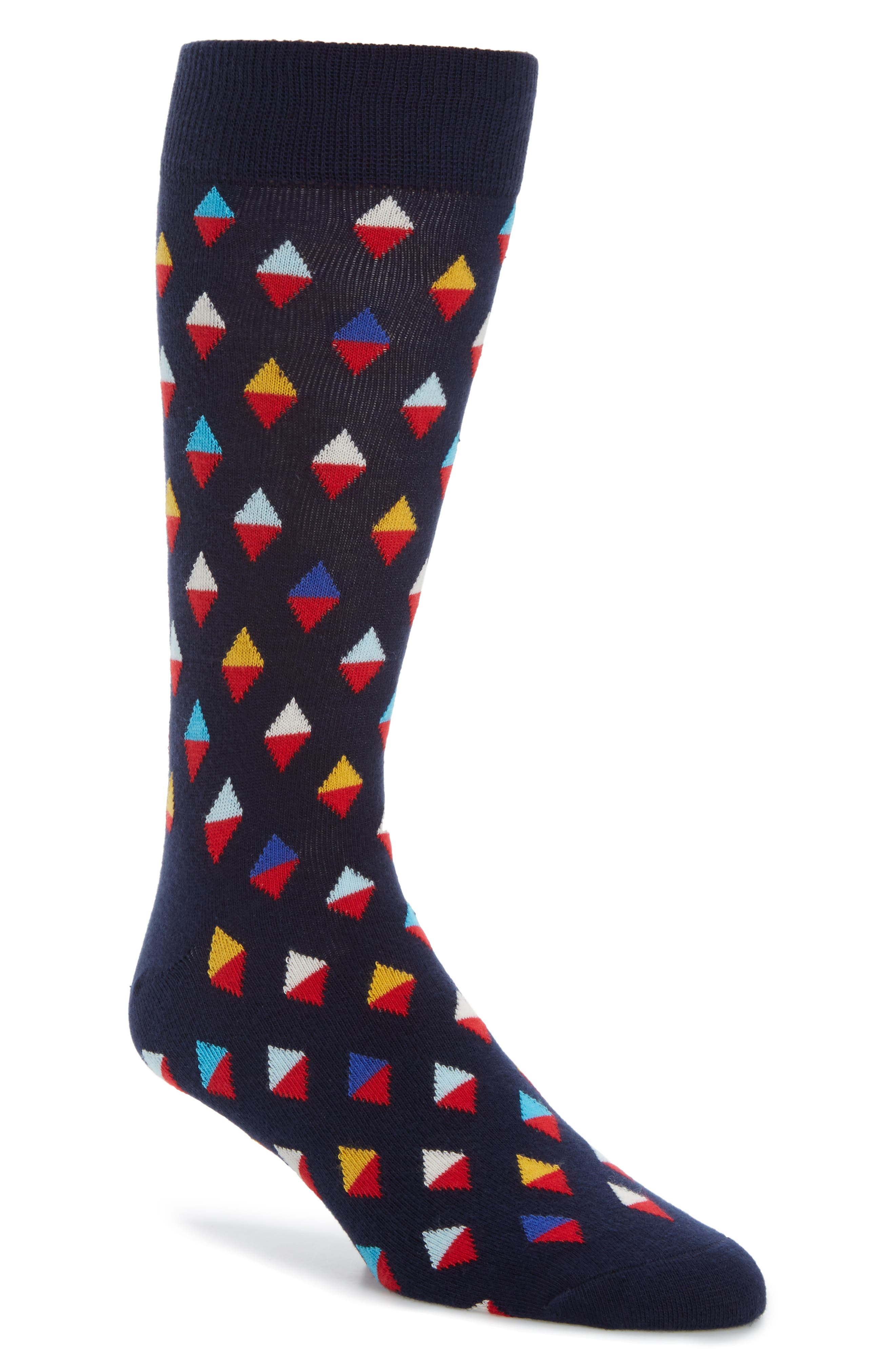 Diamond Socks,                         Main,                         color, Navy