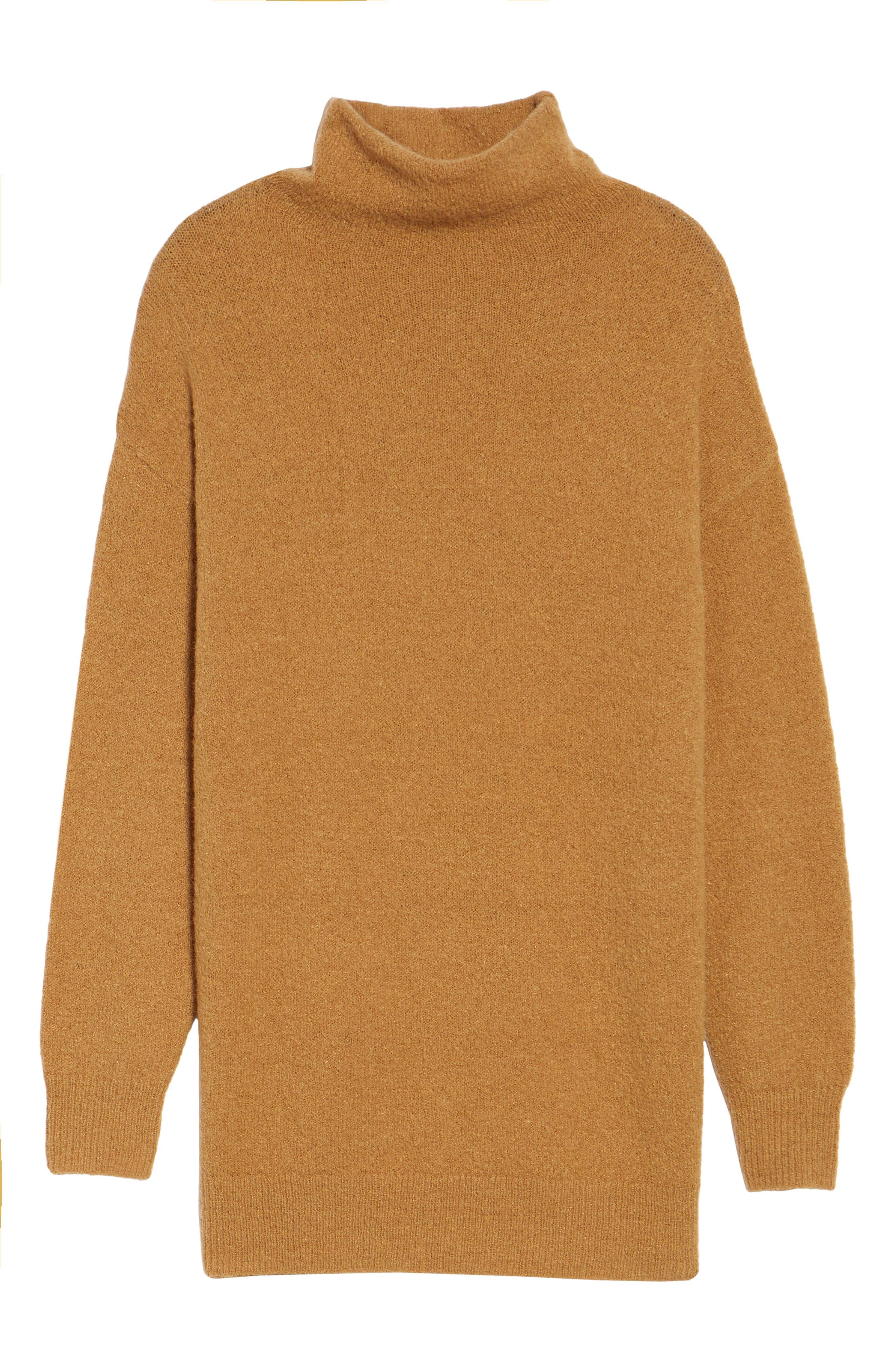 Bouclé Turtleneck Tunic Sweater,                             Alternate thumbnail 6, color,                             Brown Cattail