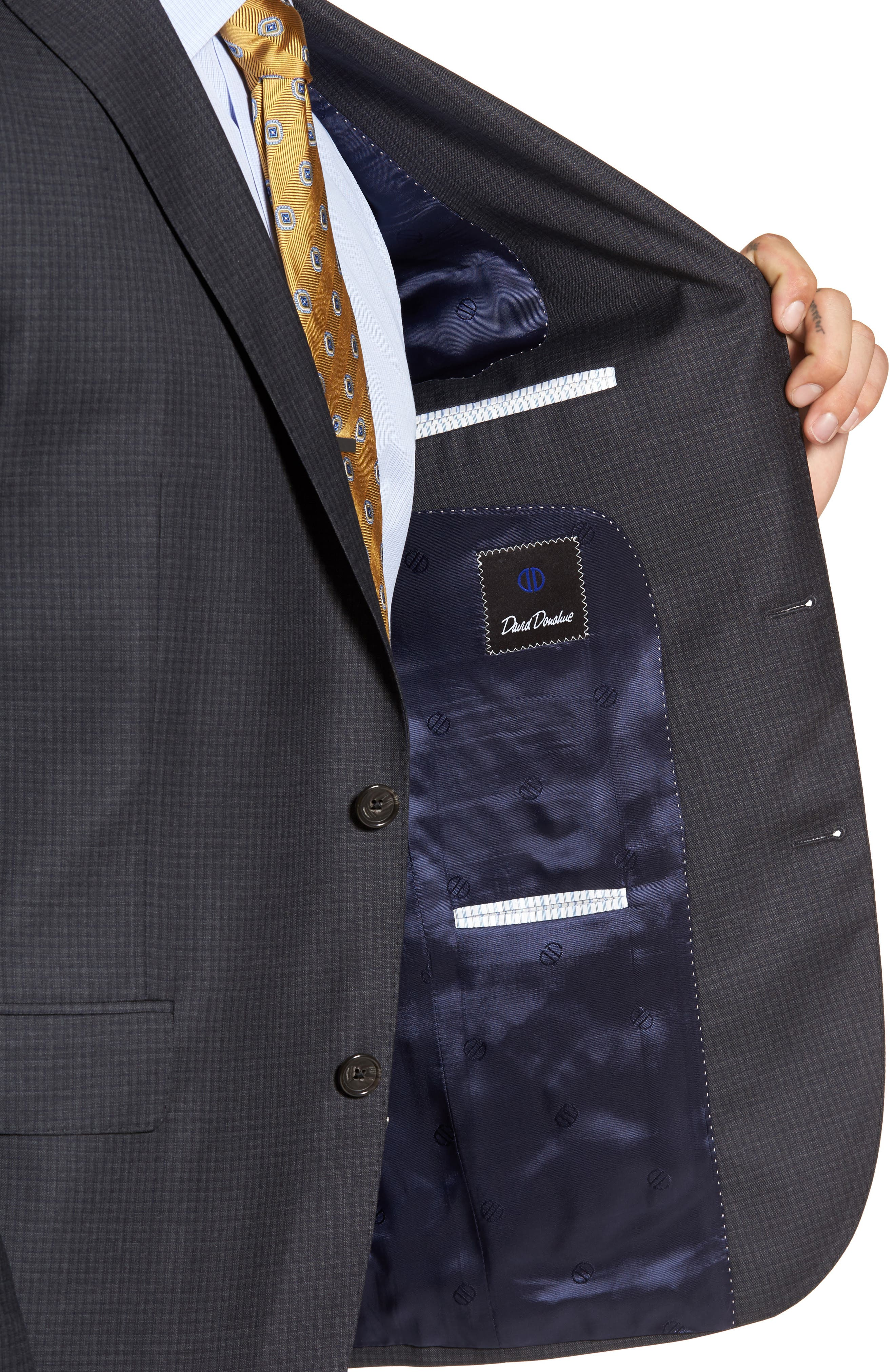Alternate Image 4  - David Donahue Ryan Classic Fit Check Wool Suit
