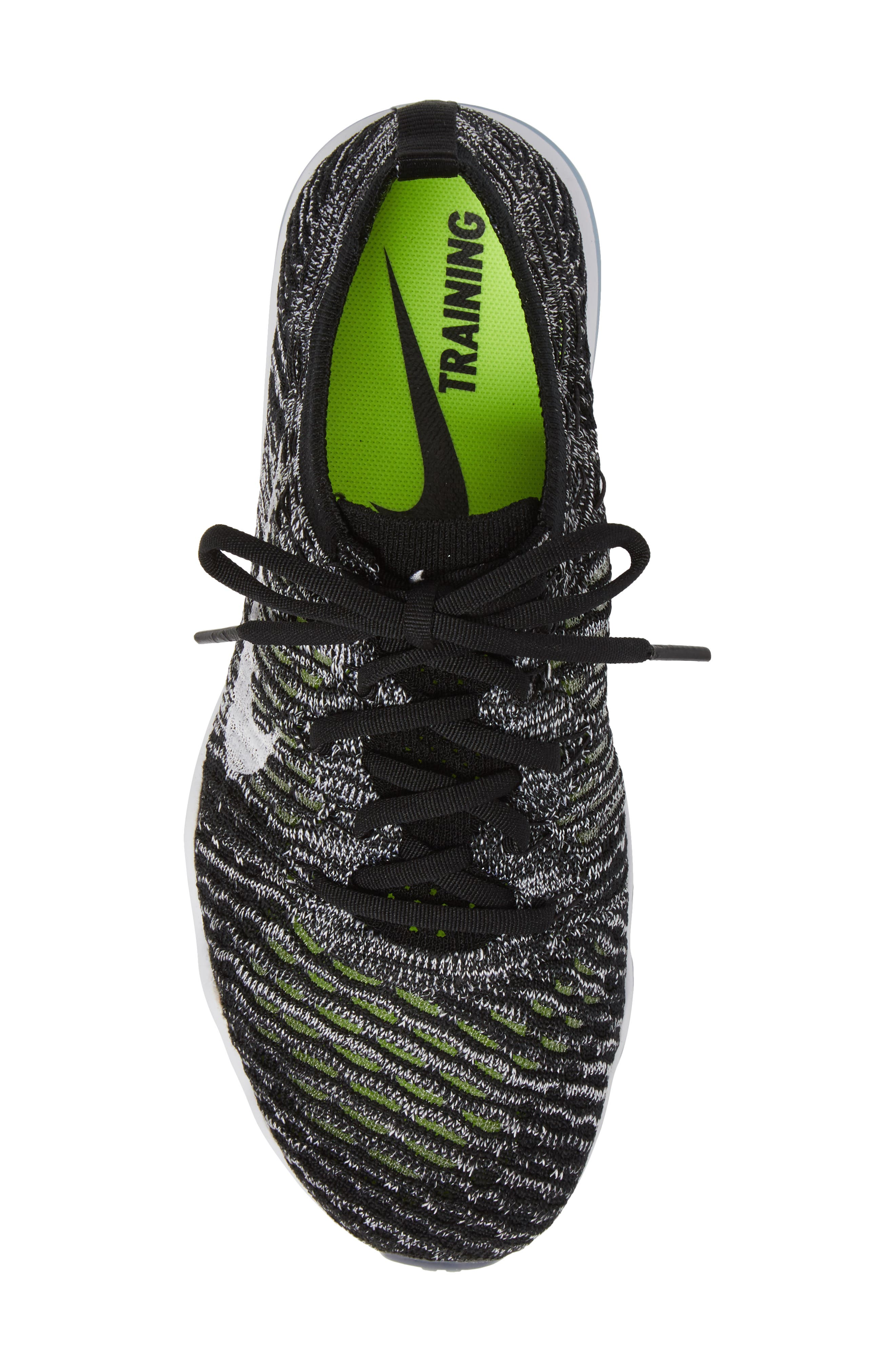 Air Zoom Fearless Flyknit Training Shoe,                             Alternate thumbnail 5, color,                             Black/ White/ White
